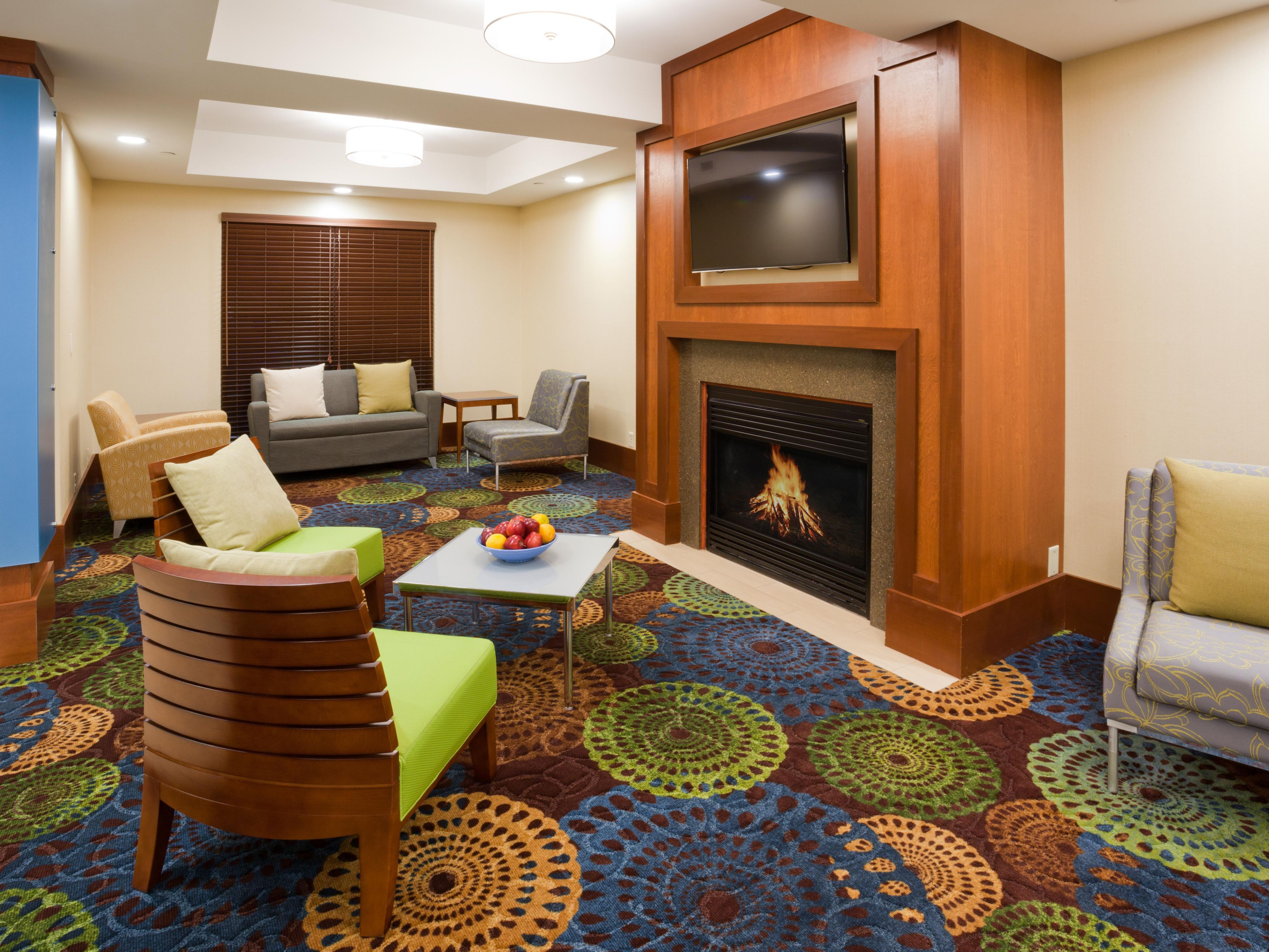 Hotel Lobby with comfortable seating and fireplace