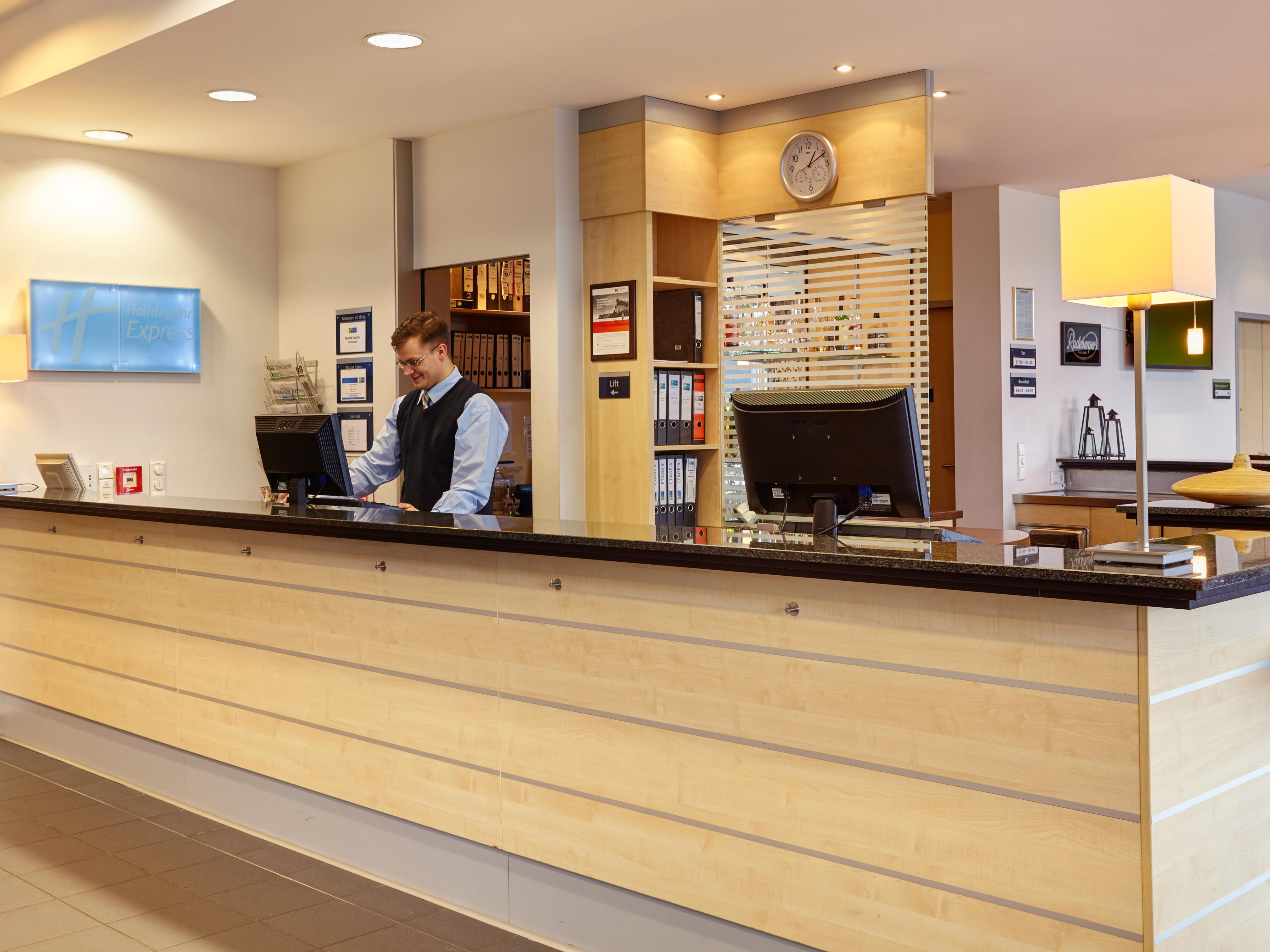 Check in with our friendly Front Desk staff