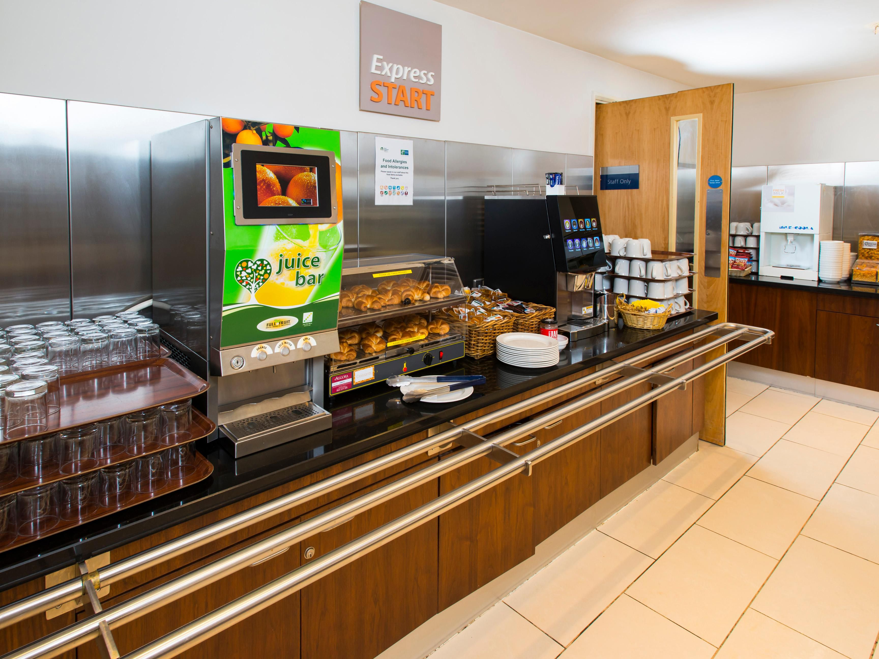 Express Start Breakfast with a wide selection of coffee and tea