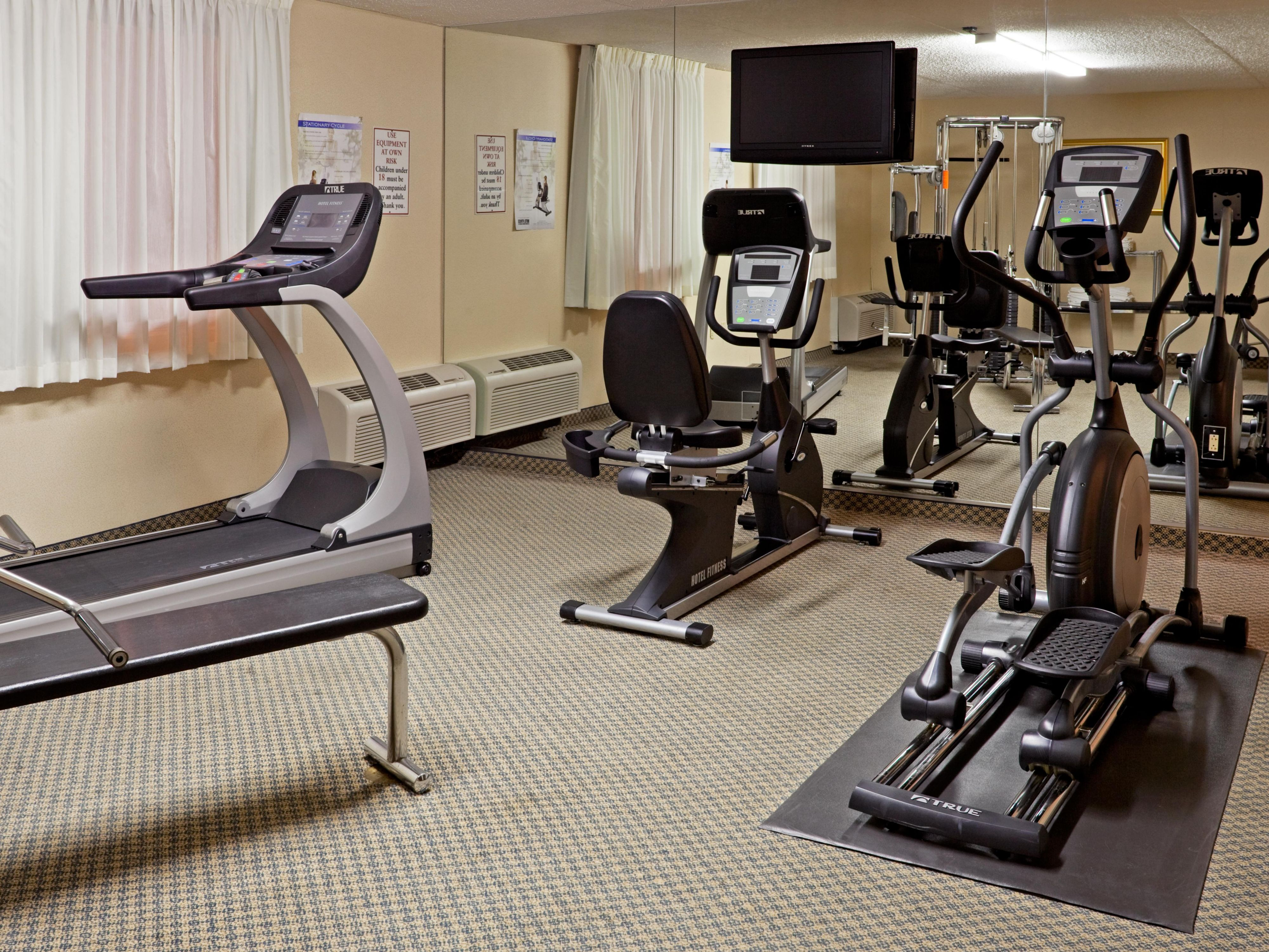 Work off some stress or keep to your routine at our fitness center