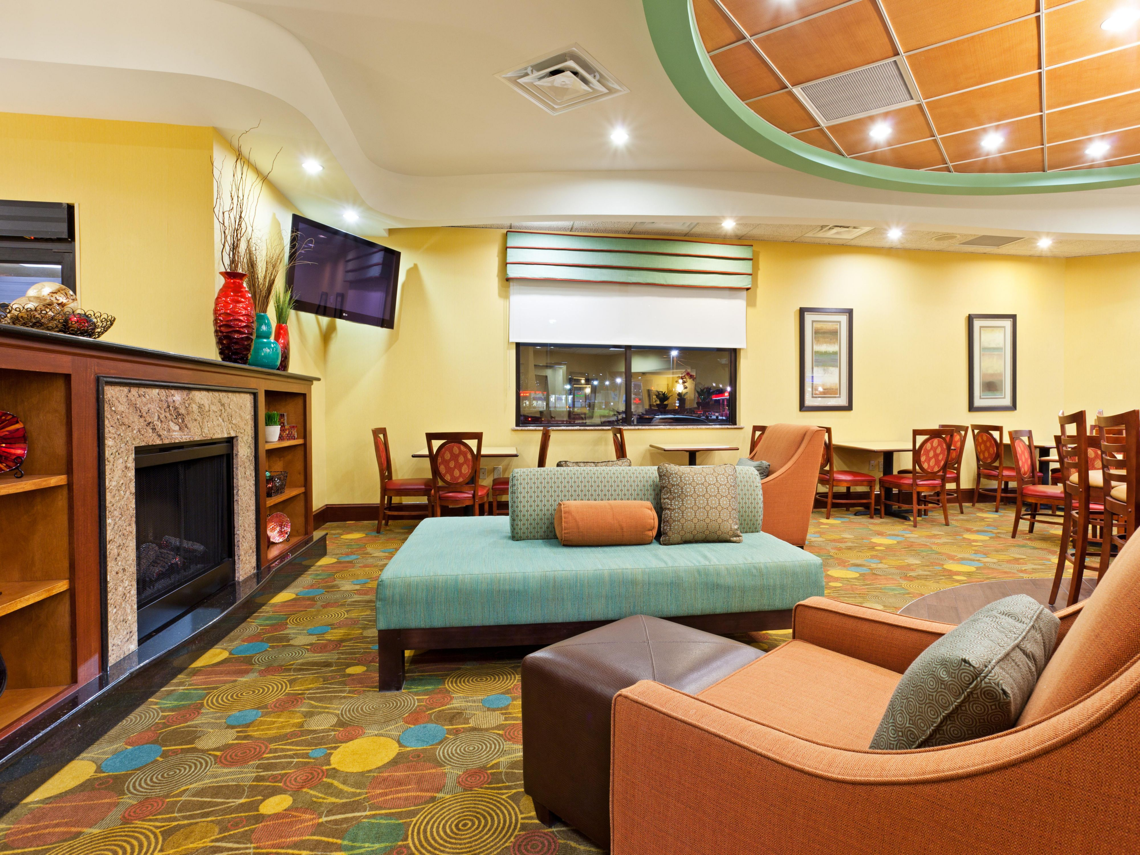 Take a moment to relax or catch up in our vibrant lobby