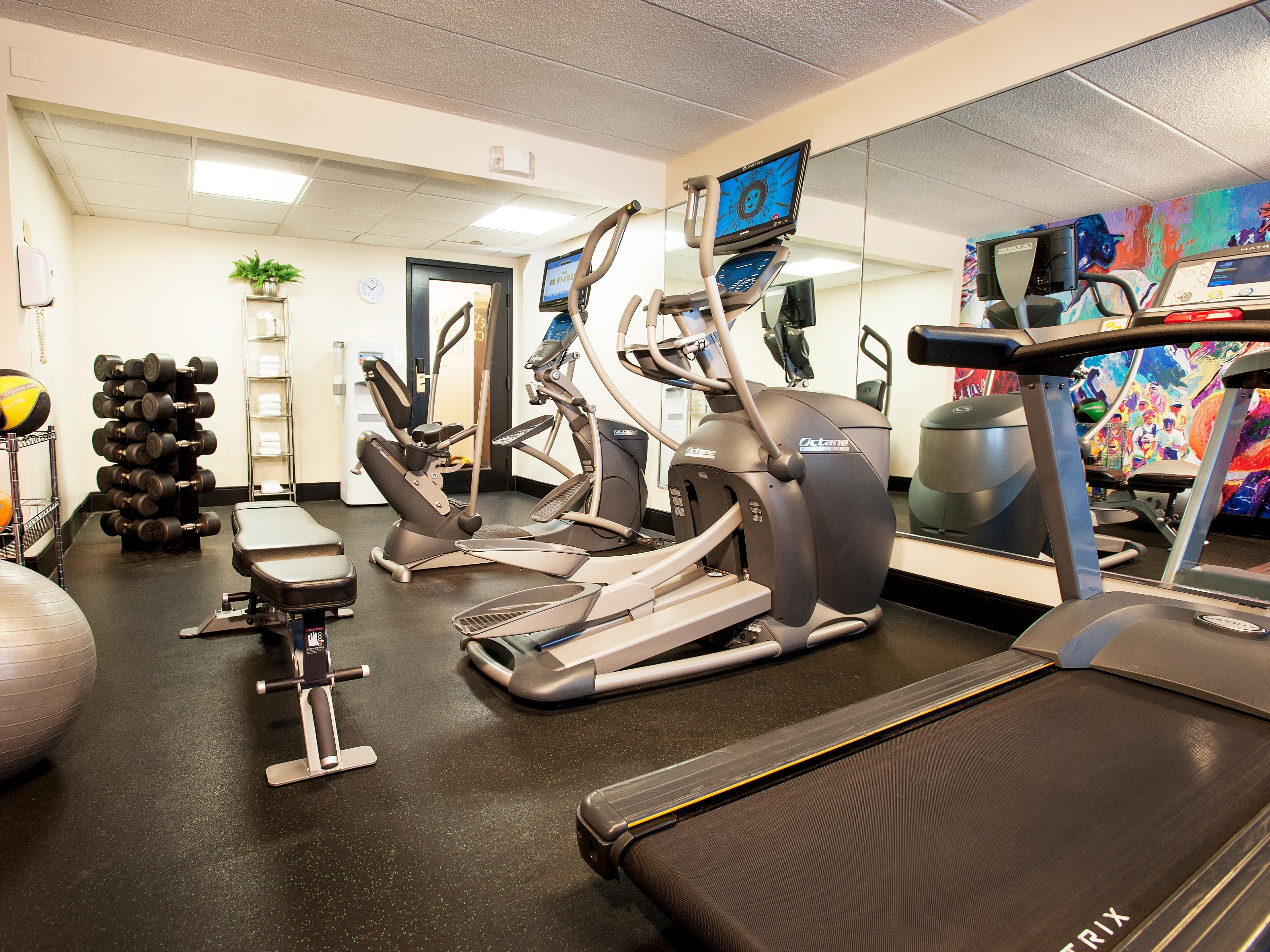 Stay in shape during your stay at our 24 hour Fitness Center.