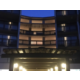 Hotel building entrance at night