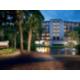 Hotel across the lagoon at dusk makes a pretty sight