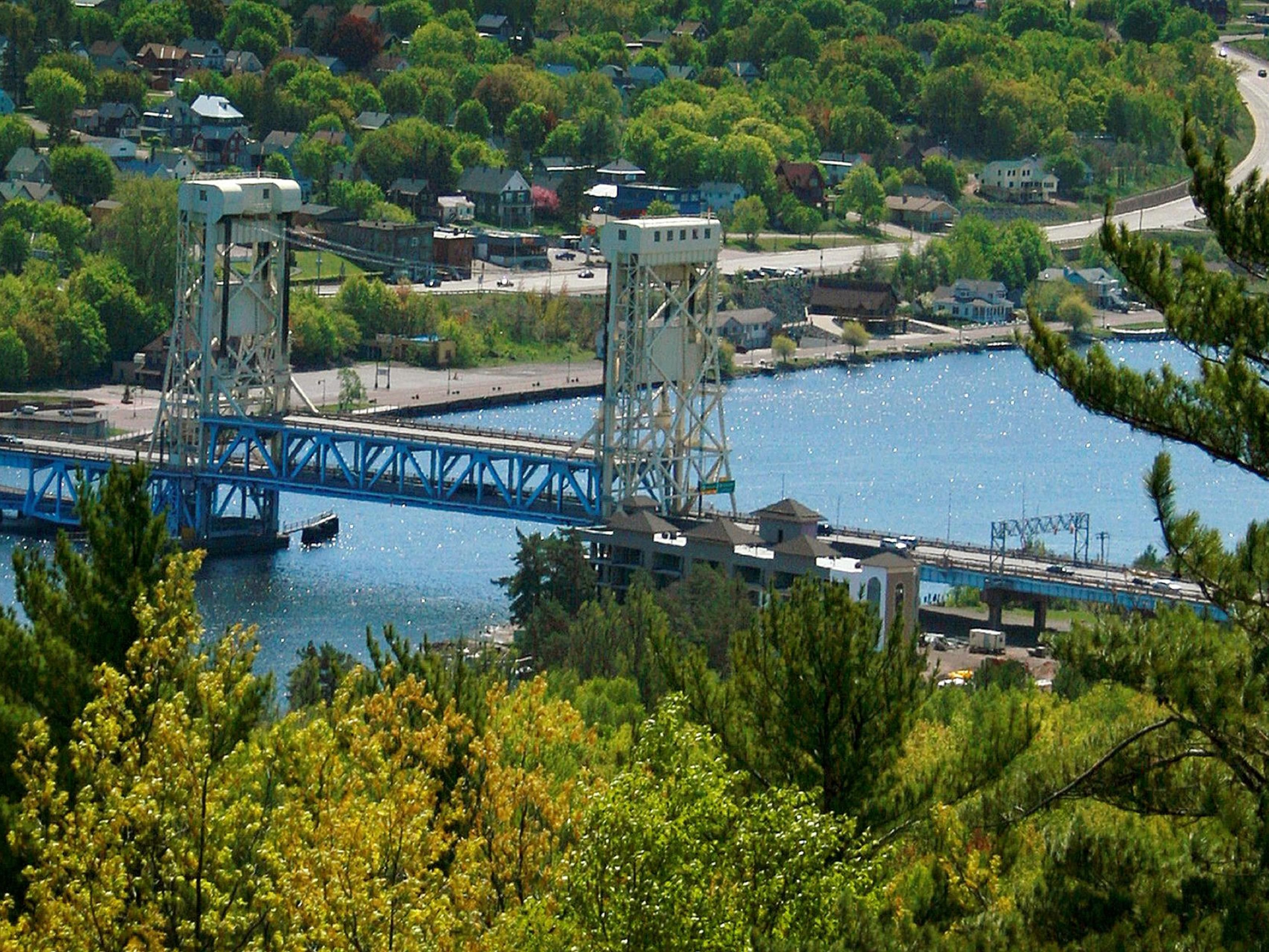 View of Portage Lift Bridge from Quincy Hill