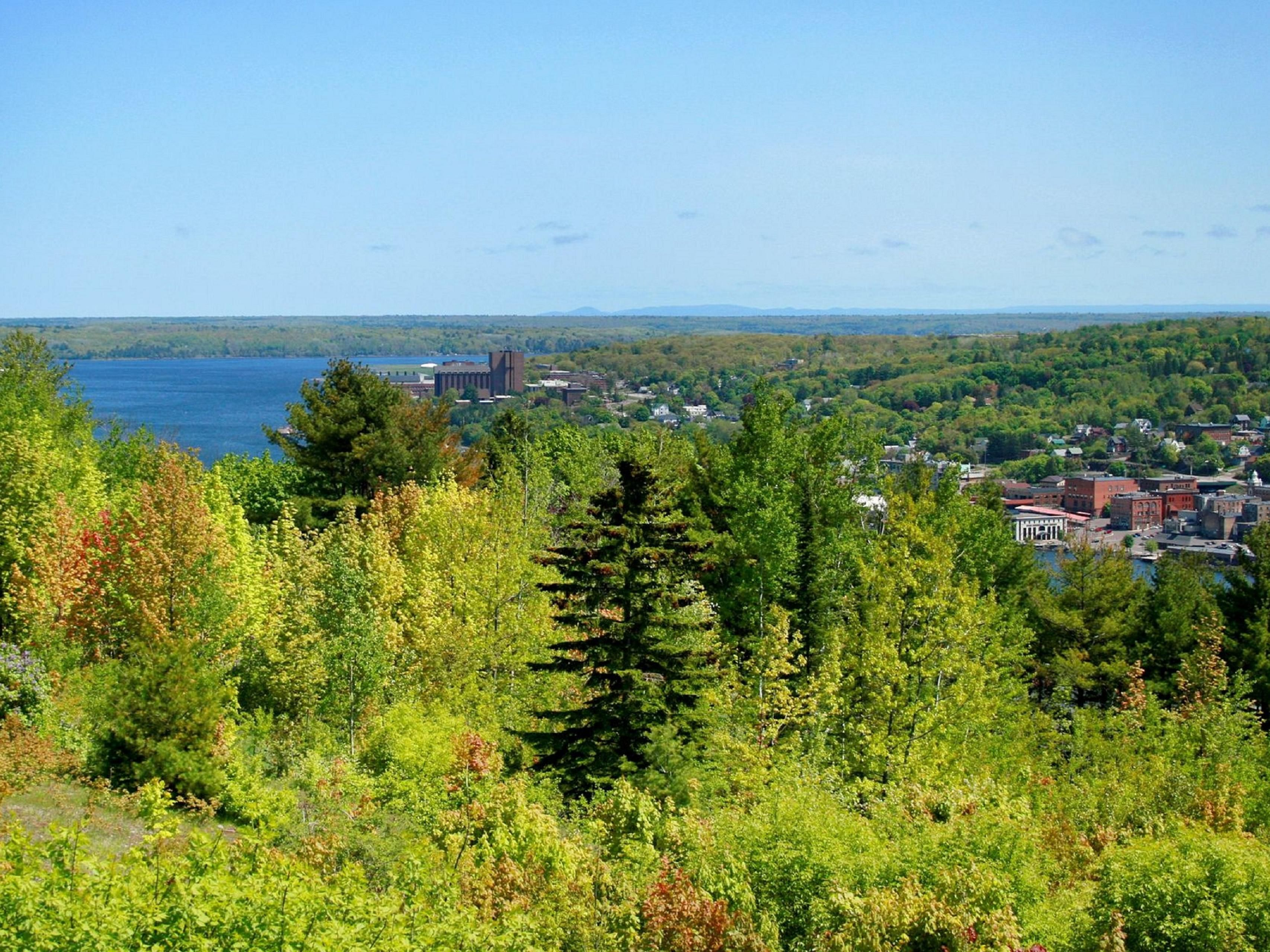 View atop Quincy Hill looking over Portage Lake