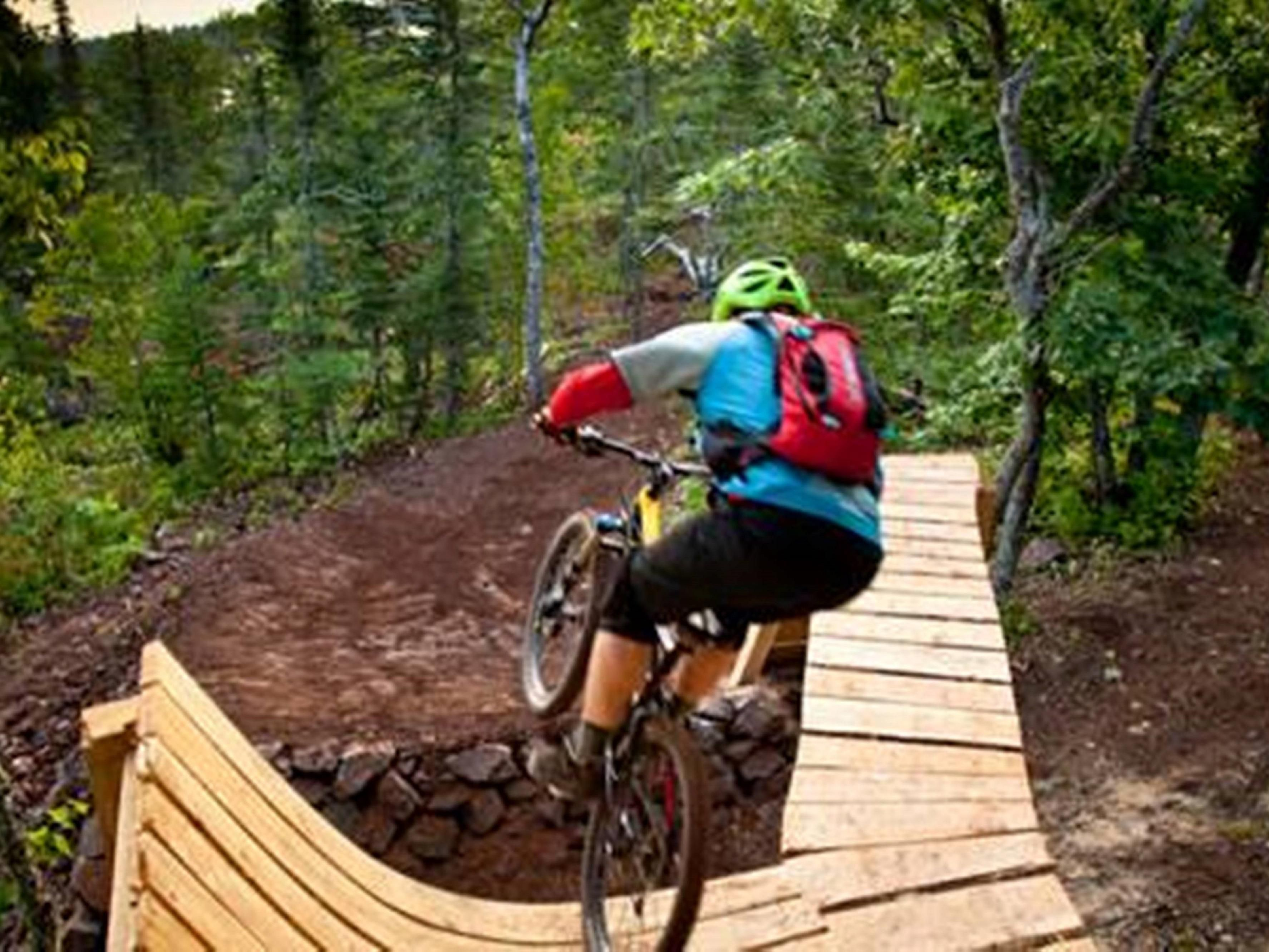 Mountain biking in Copper Harbor, 45 miles north of Houghton.