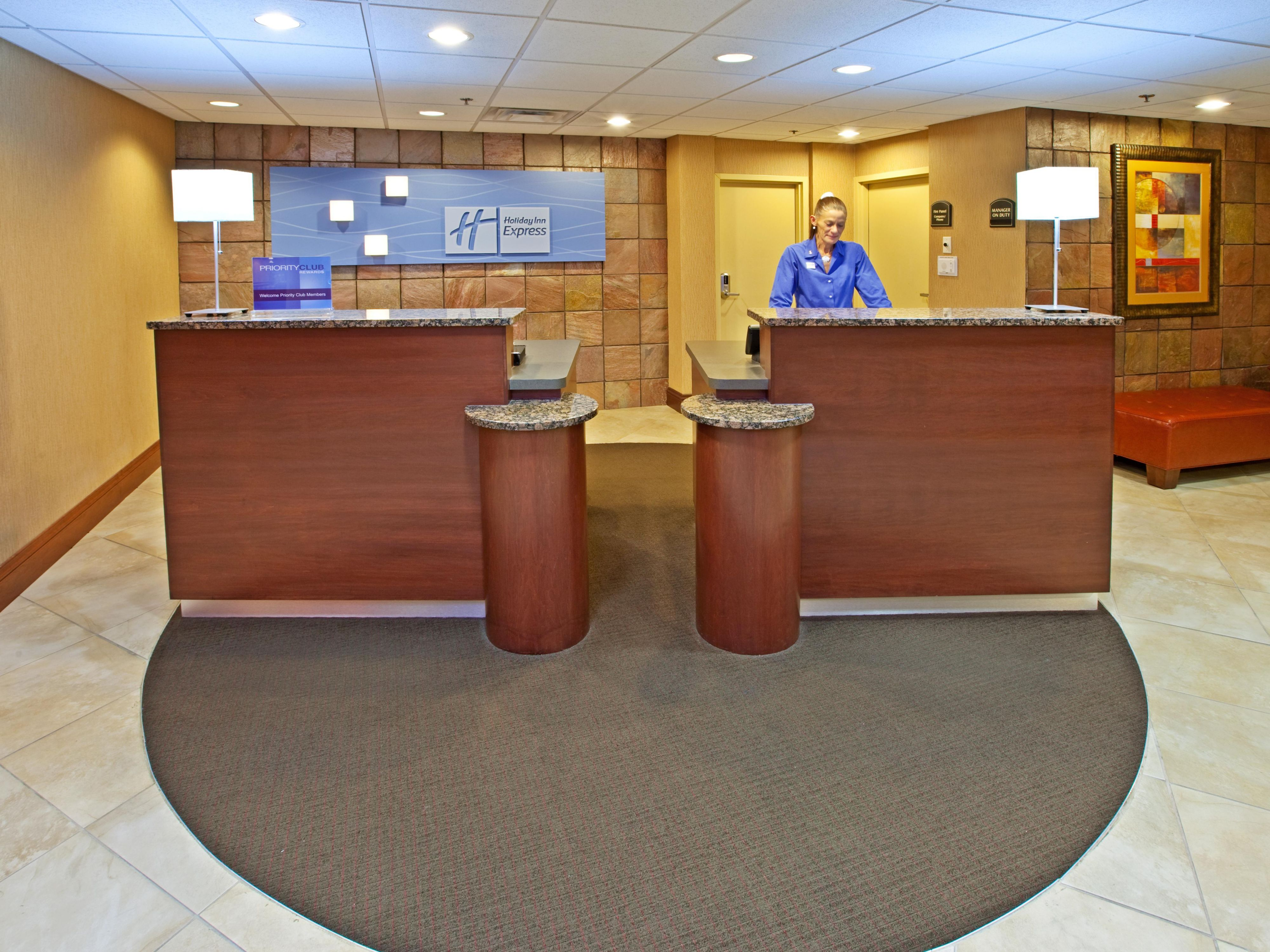 Visit our front desk where our team is here to serve you 24-7