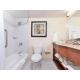 Well lit guest bathroom with full ammenities