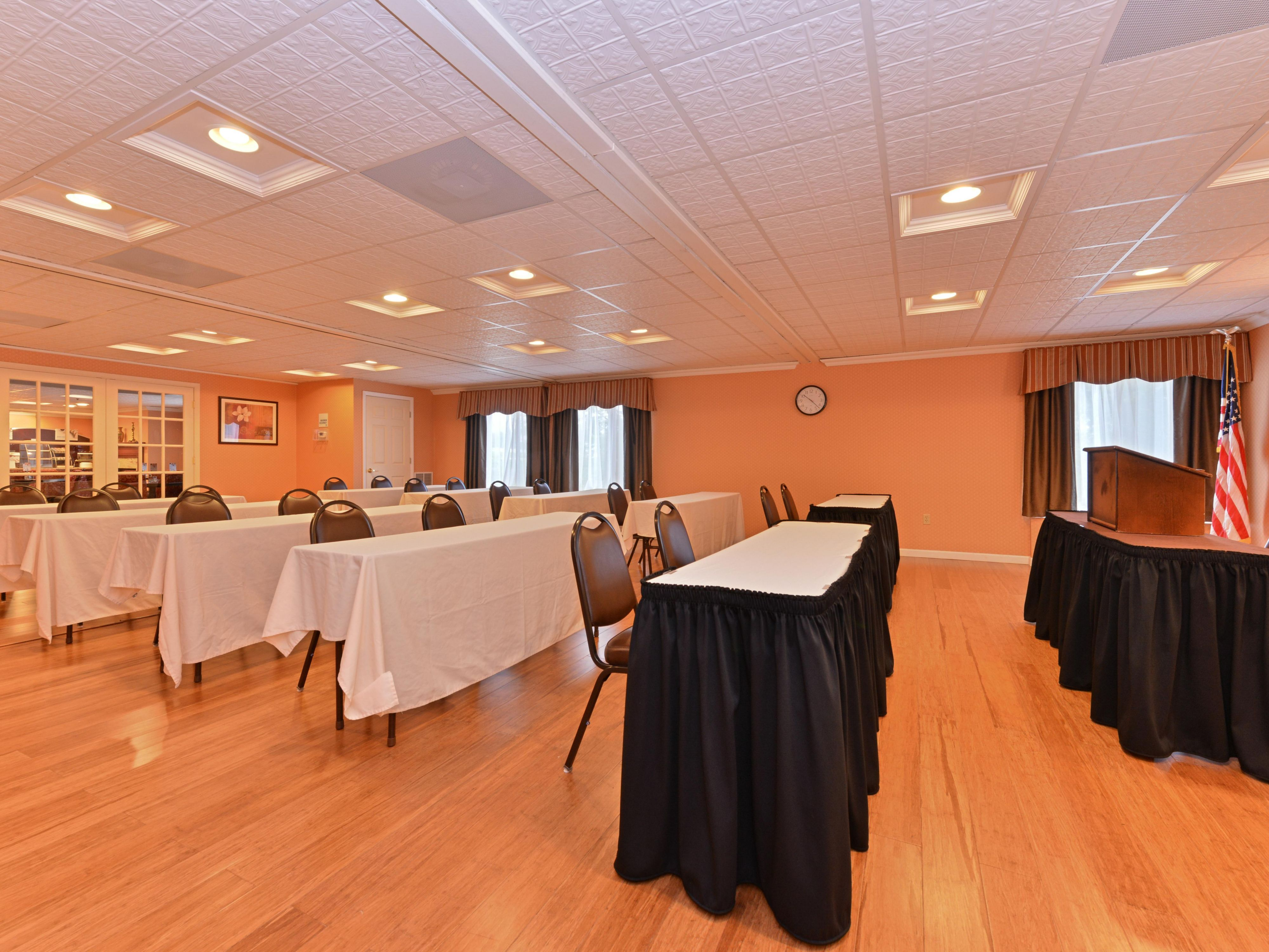 Well lit meeting space available for business meetings