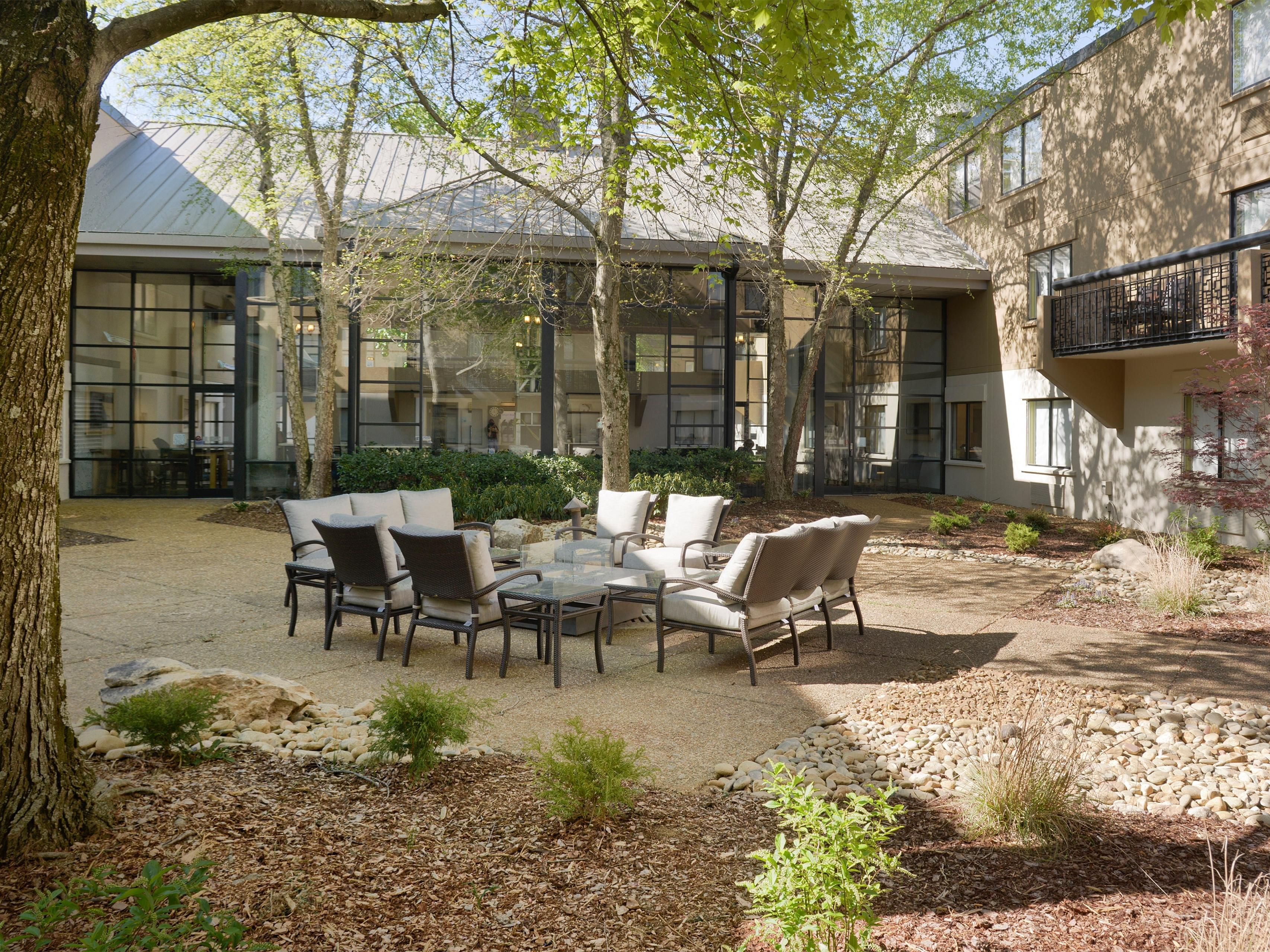 Newly Landscaped Courtyard with Fire Pit