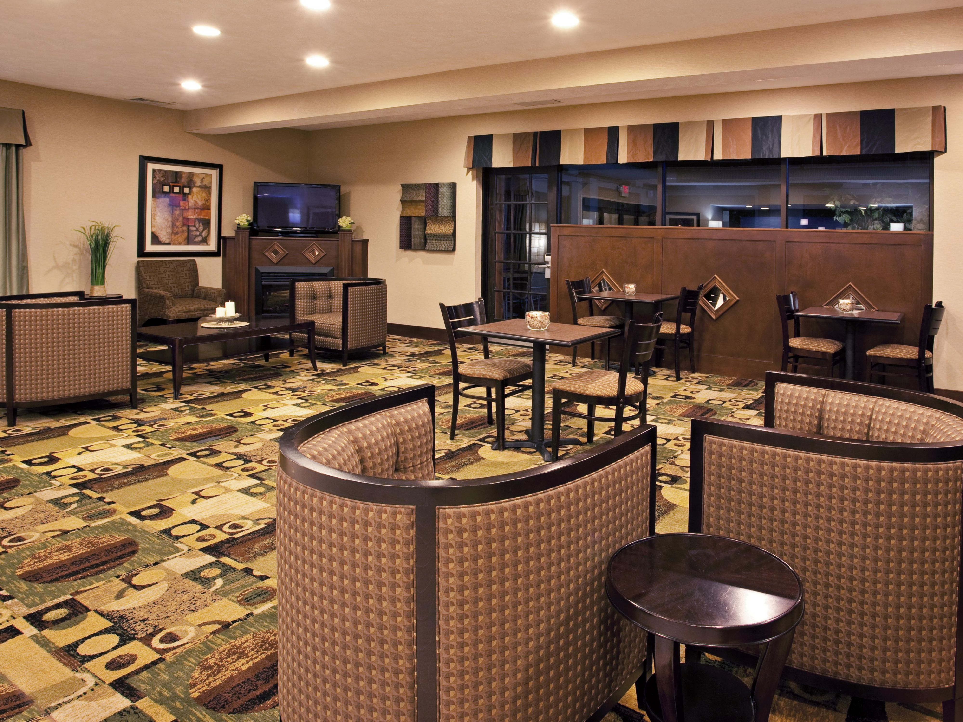 Unwind and watch some TV in our comfortable lobby