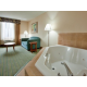 Relax in your jacuzzi tub, then enjoy a free hot breakfast
