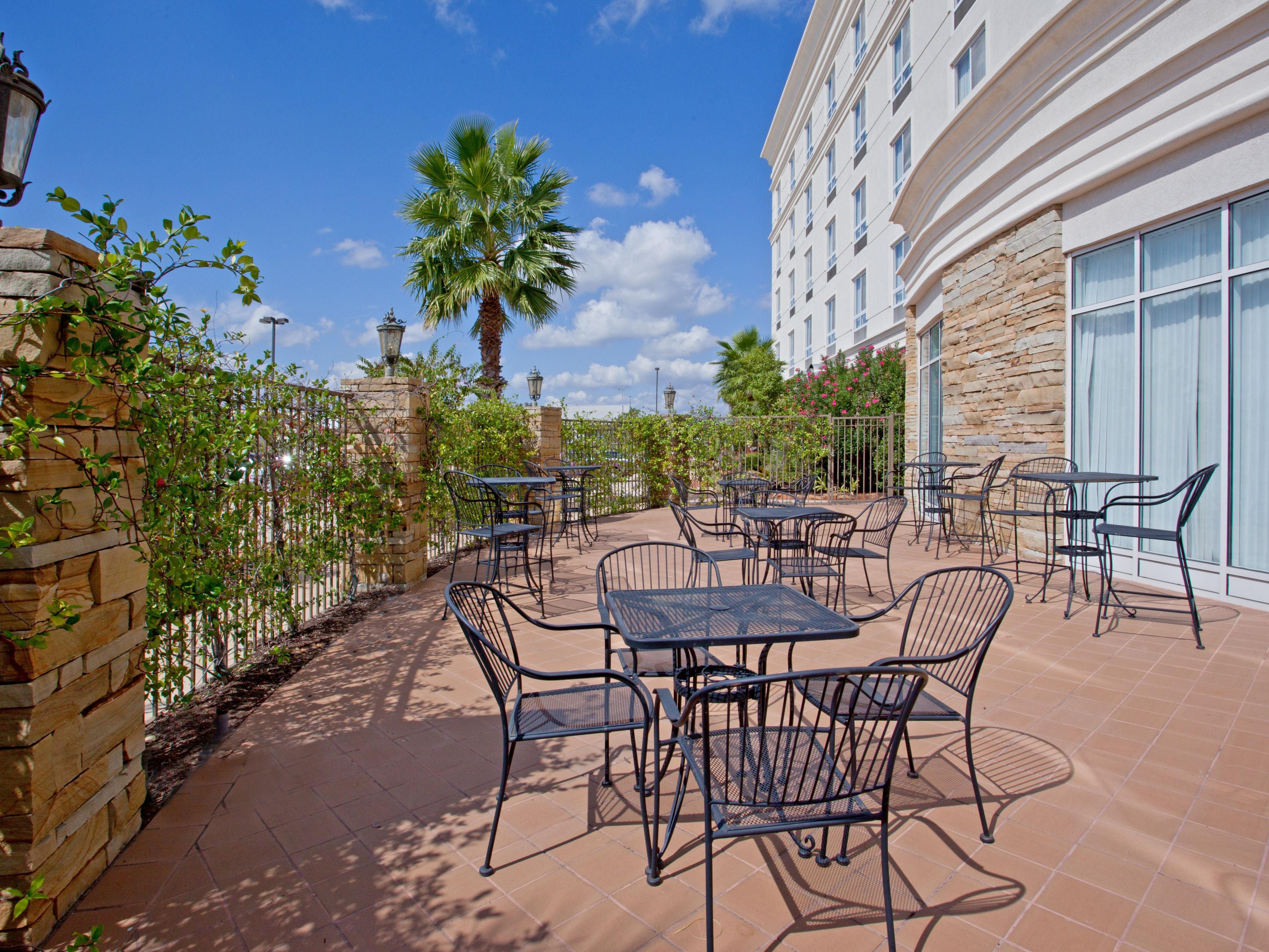 Enjoy breakfast or cocktails on our Guest Patio