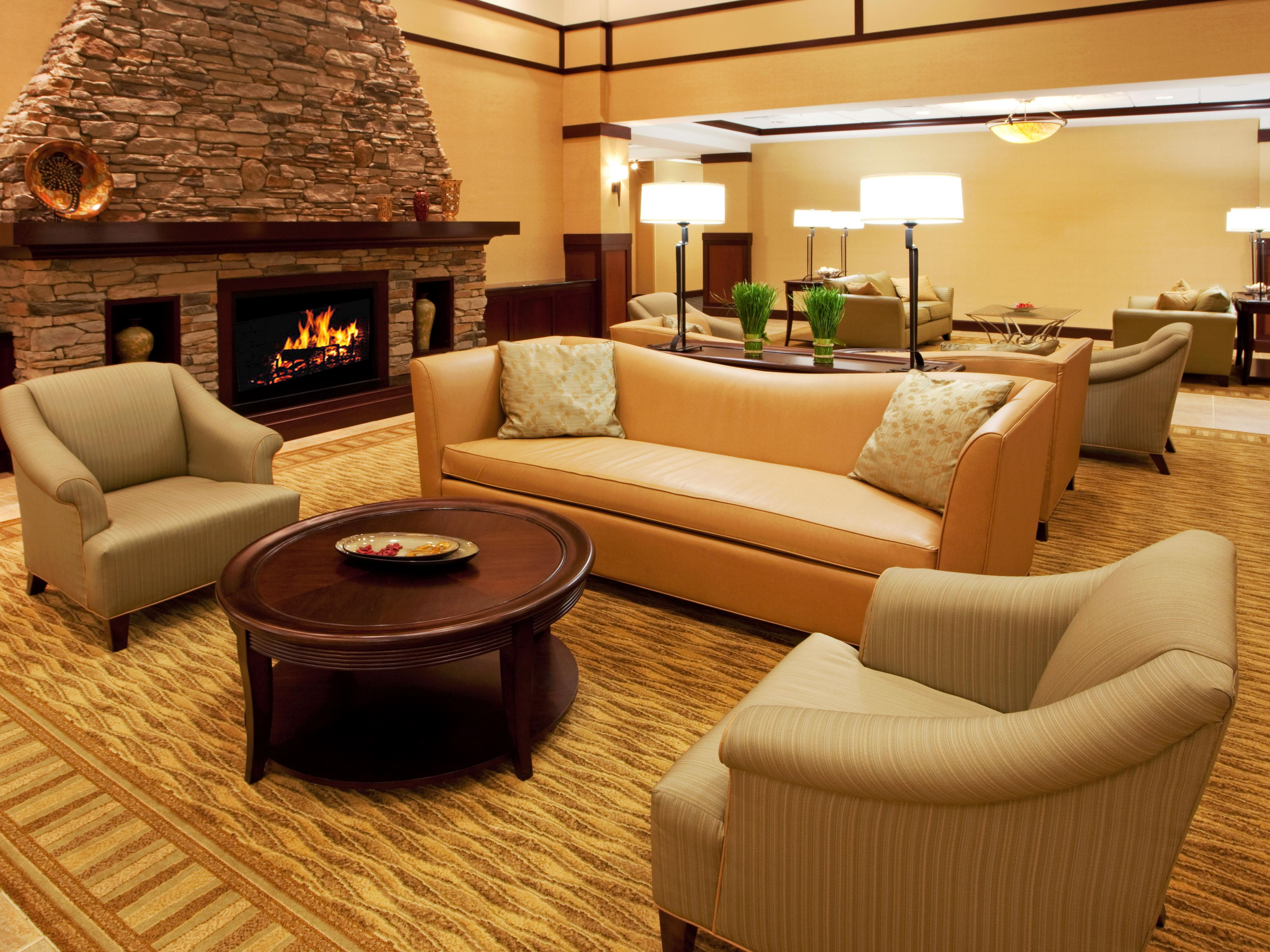 Beautiful hotel lobby with Gas fireplace and homestead feel.
