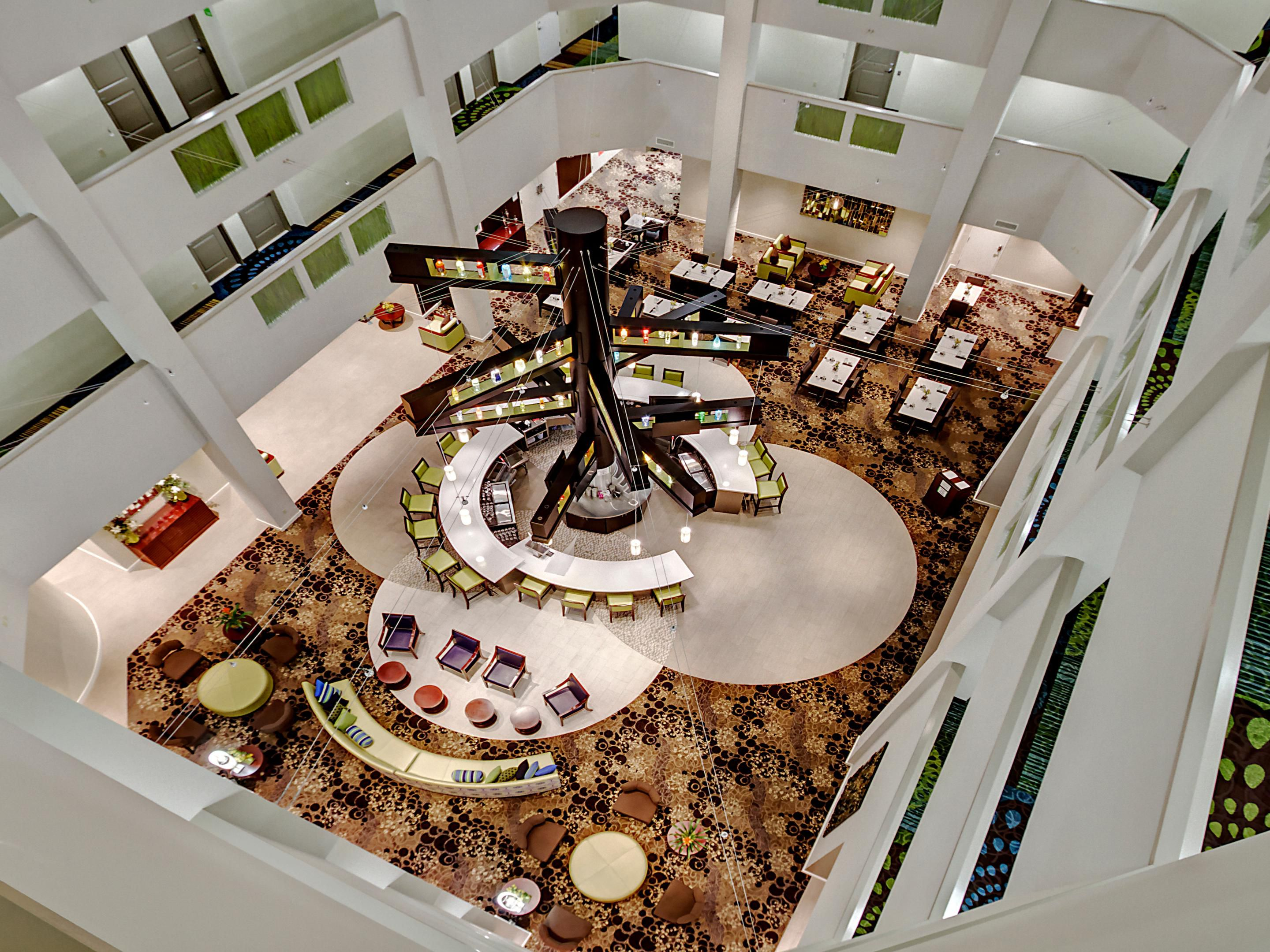 Spectacular view of our atrium from the top floor.