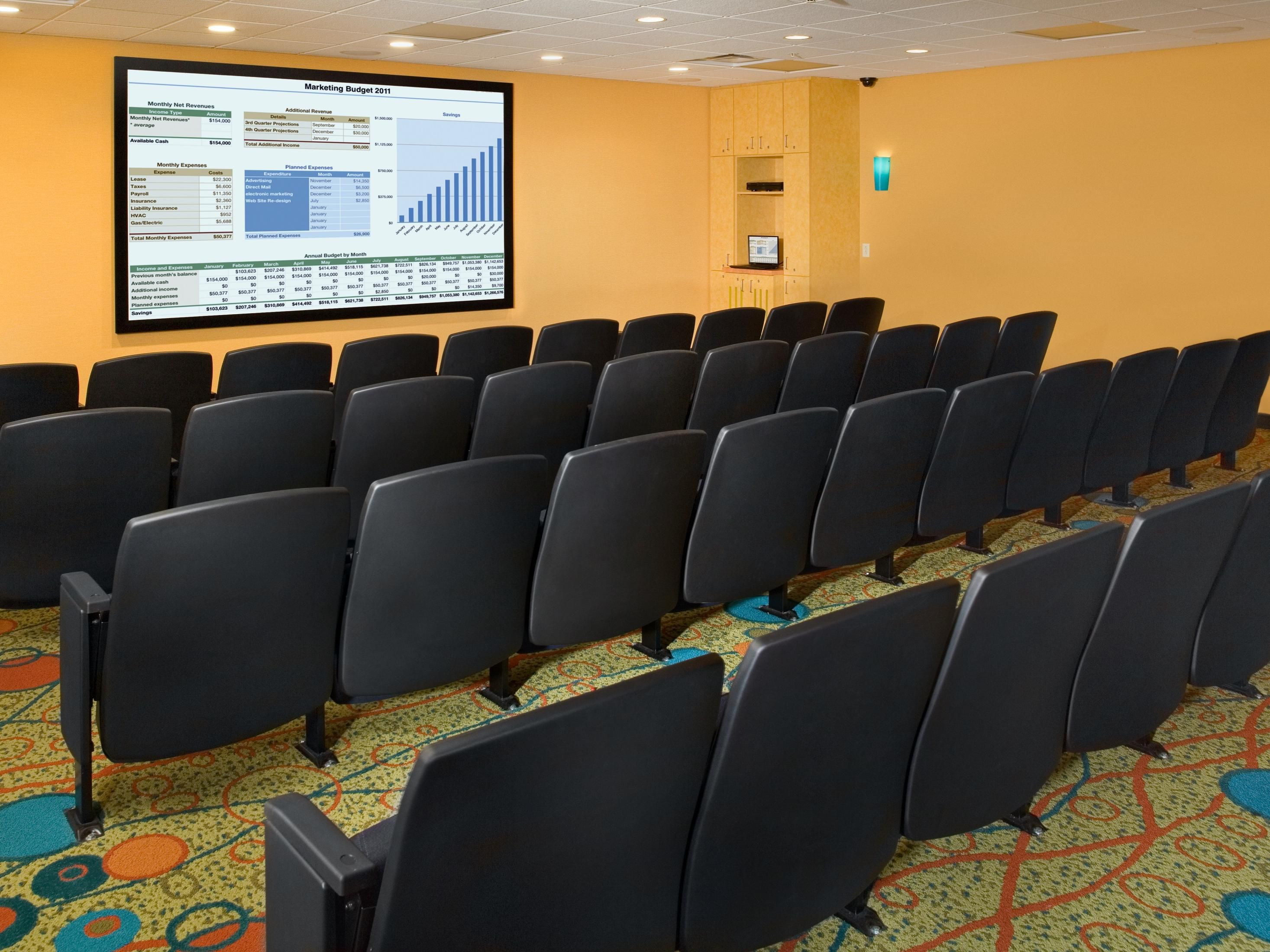 Our 48 Seat Movie Theatre is suitable for work and play.
