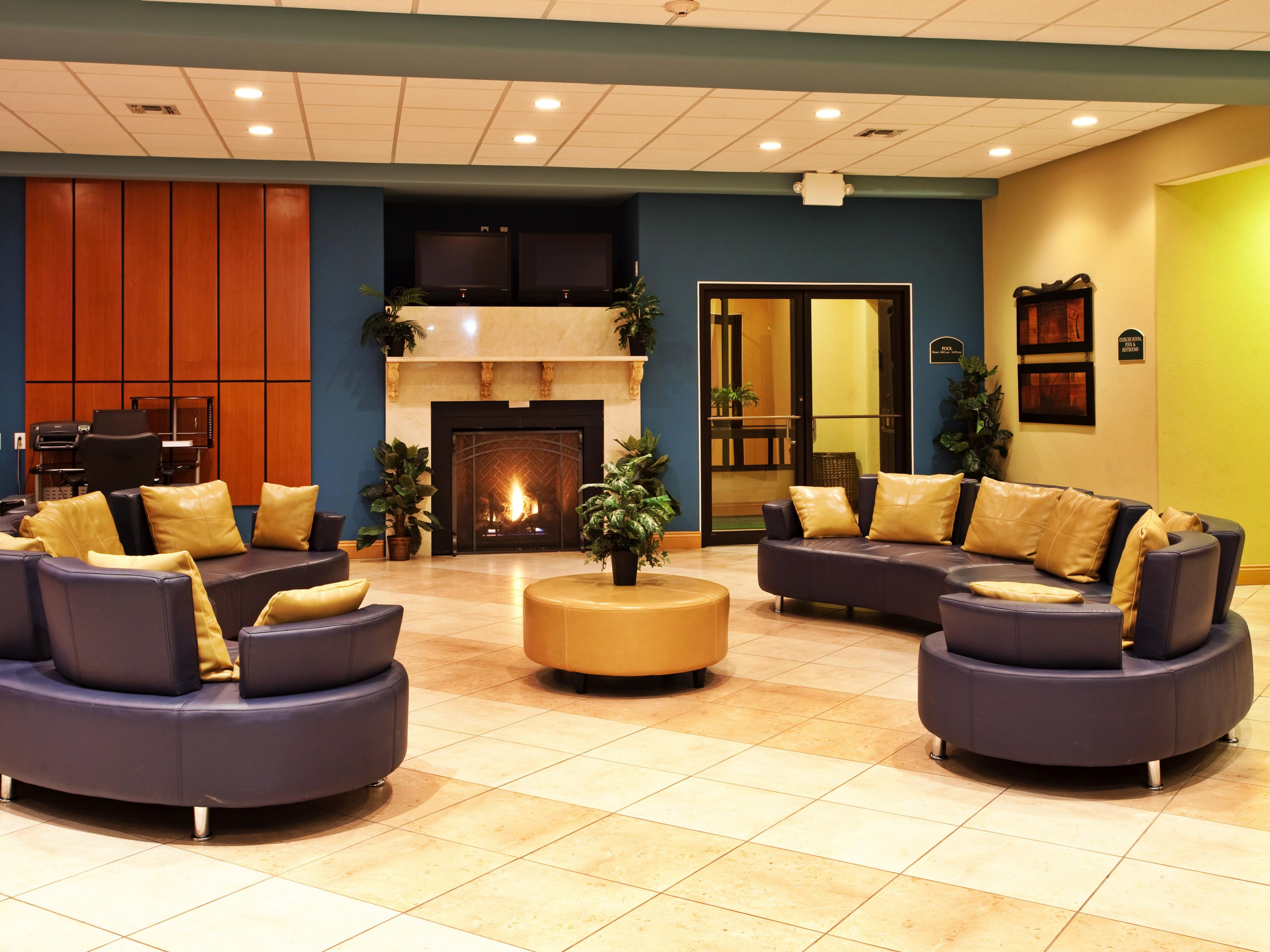 Enjoy the comforts of home in our hotel lobby