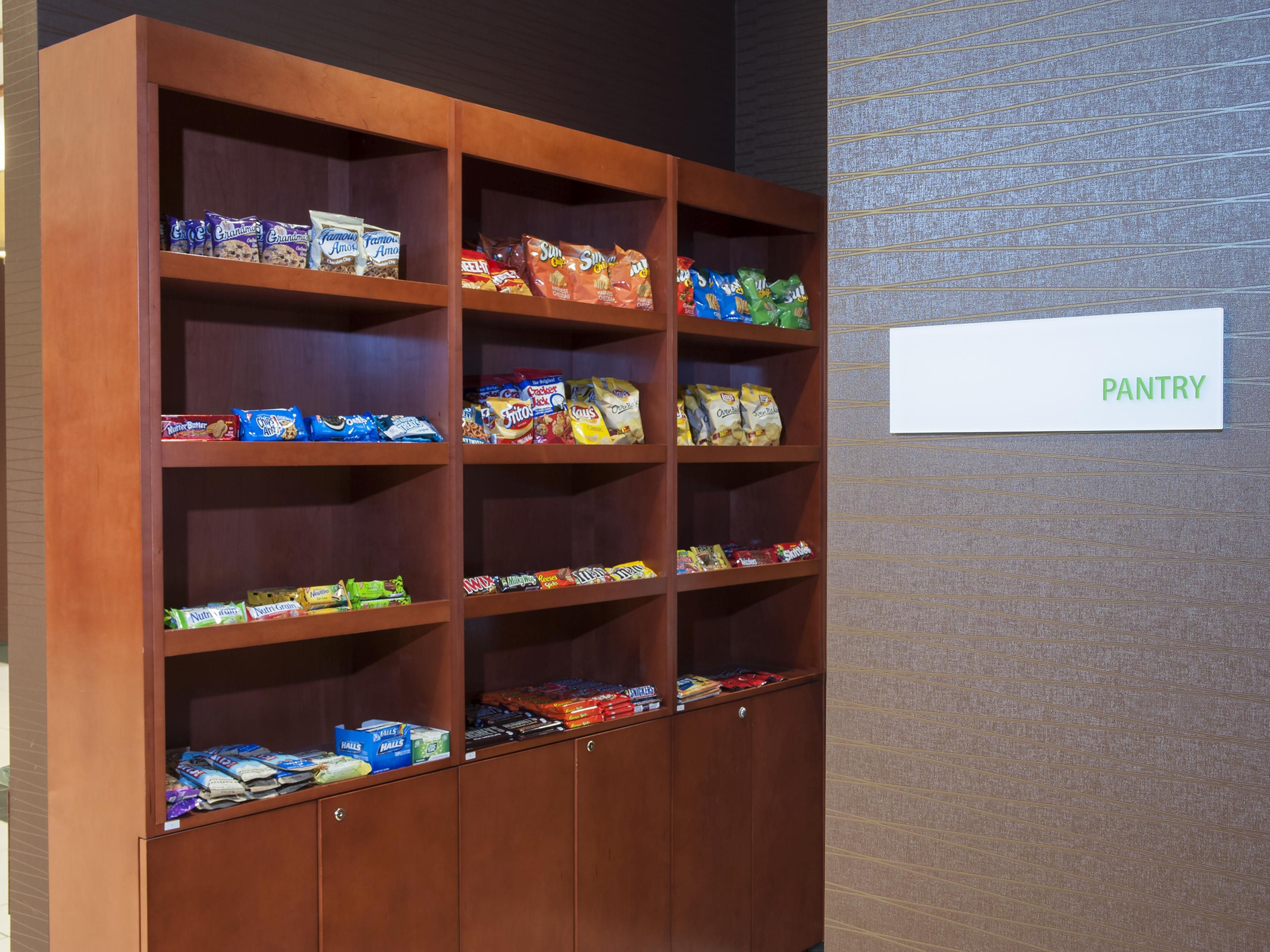 Stop by and grab a Snack in our 24-hour Pantry