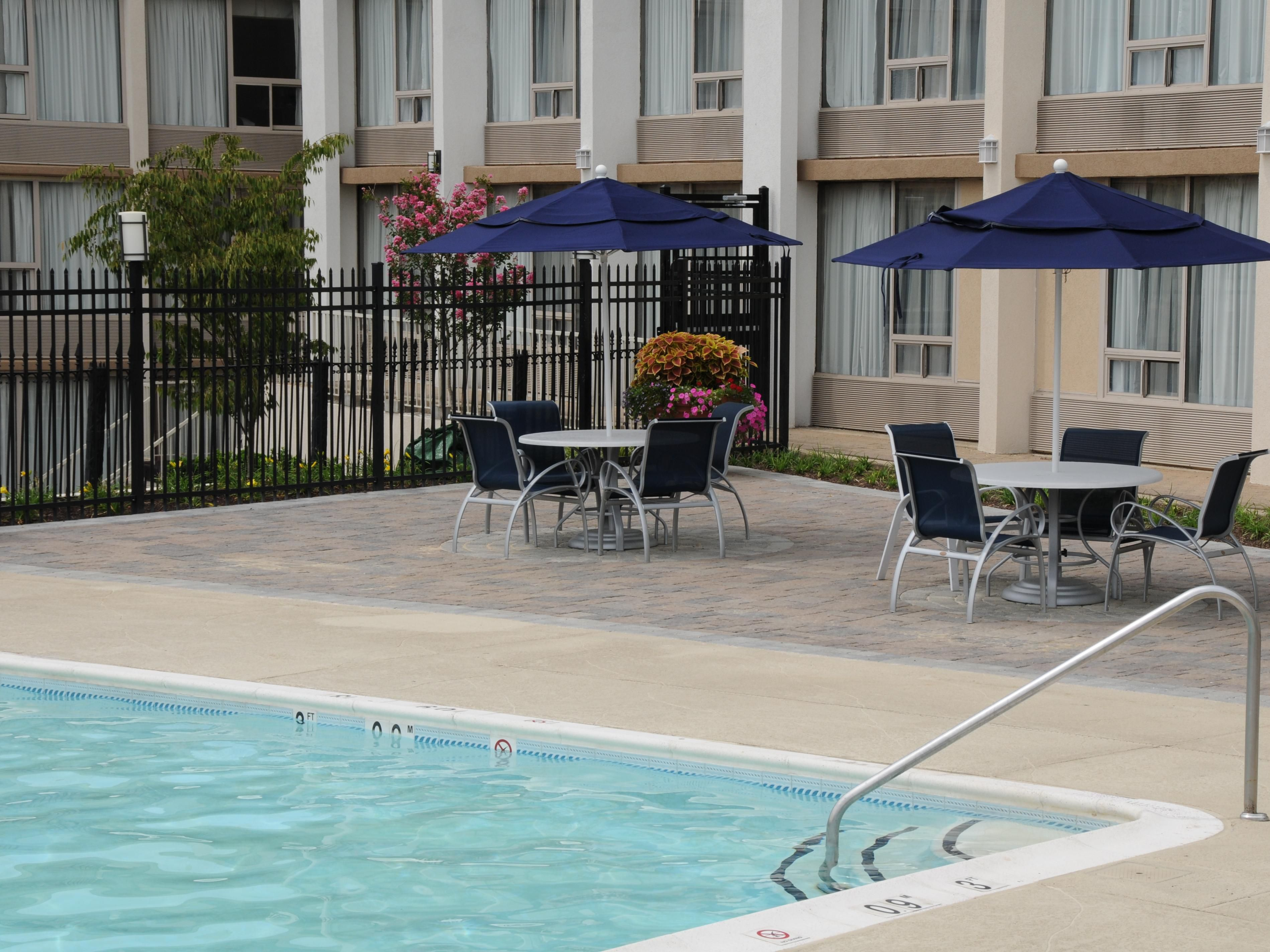 Relax in our beautiful seasonal outdoor pool.
