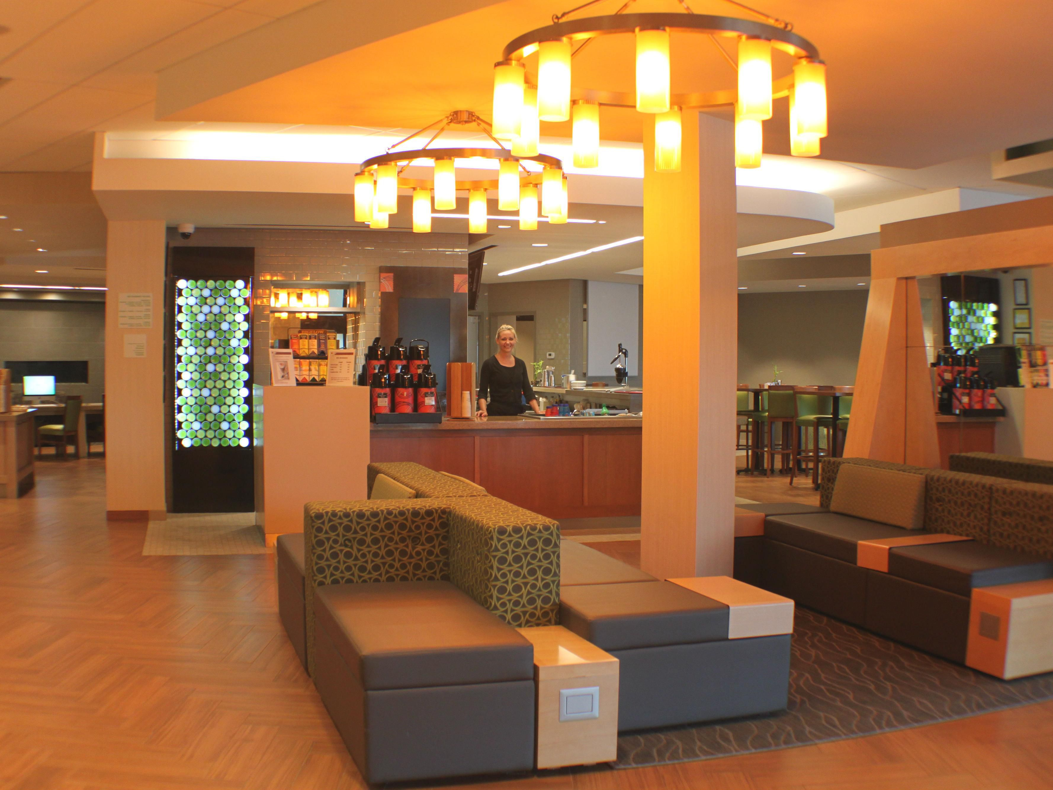 Hotel active lobby, cafe area and Market Place