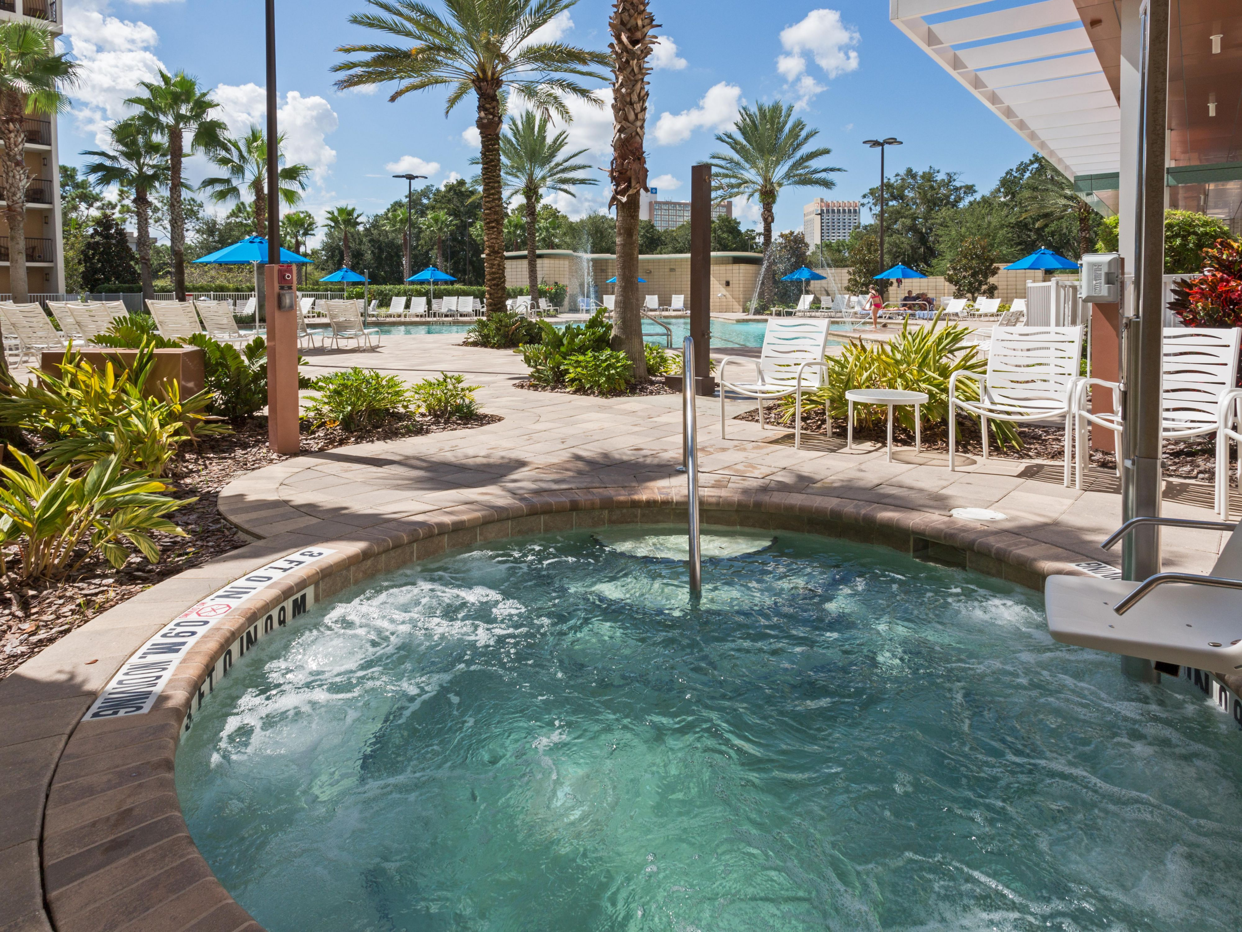 Relax in our comfortable whirlpool after the parks