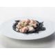 Linguini nero di seppia with fresh salmon and cream sauce