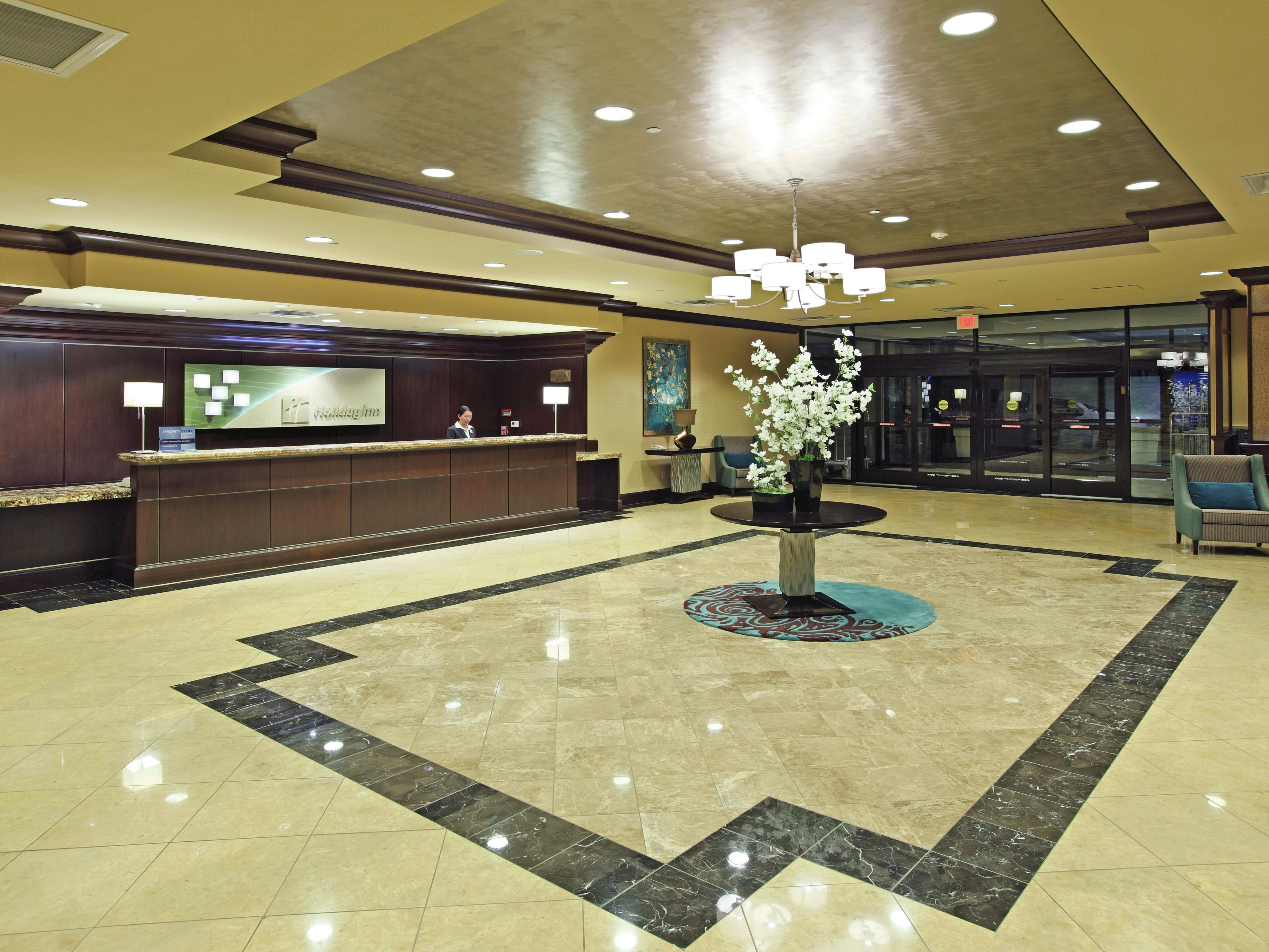 Marble and class set the feel of elegance in the lobby.