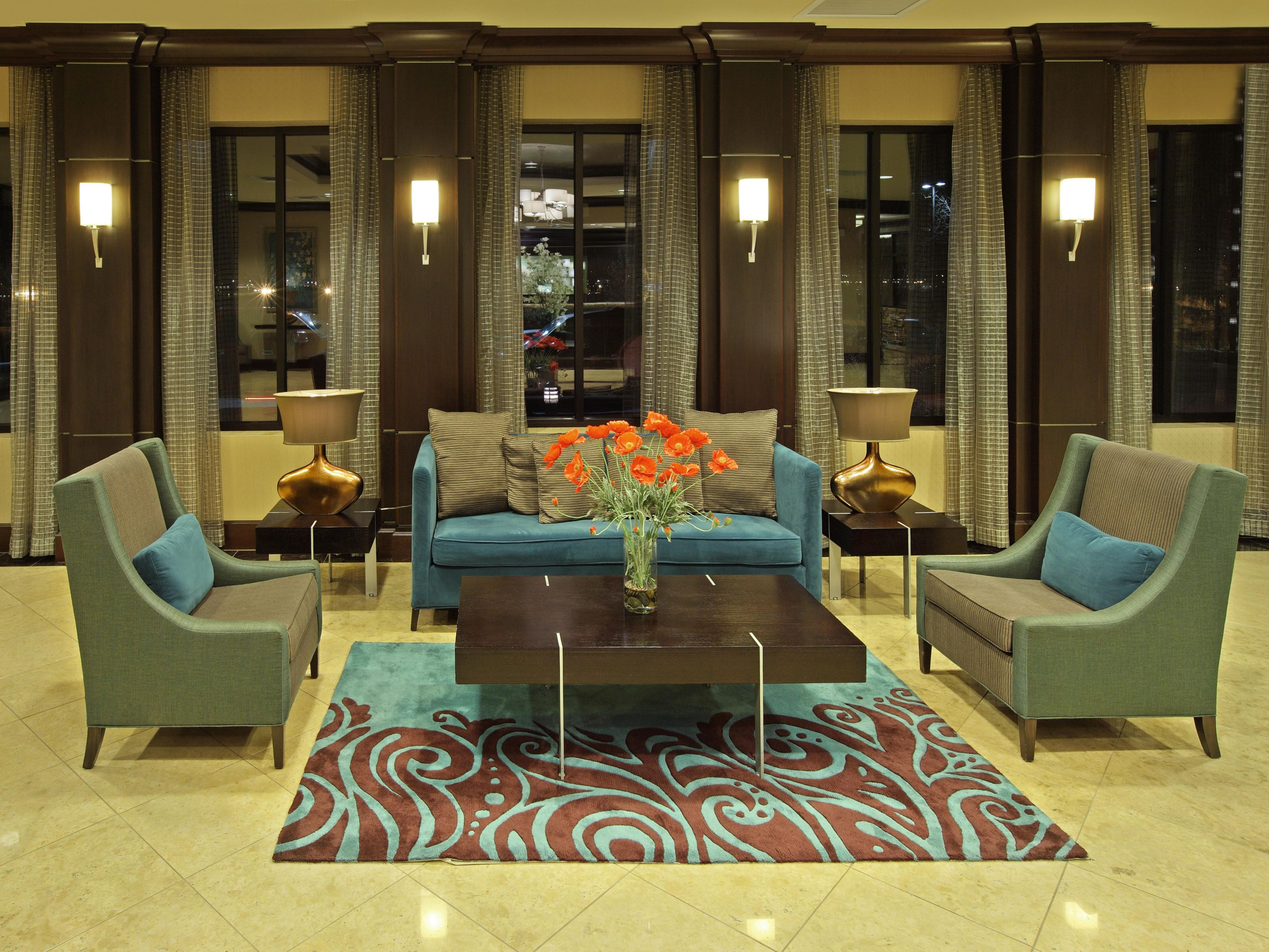 The lobby was designed with the guest in mind.