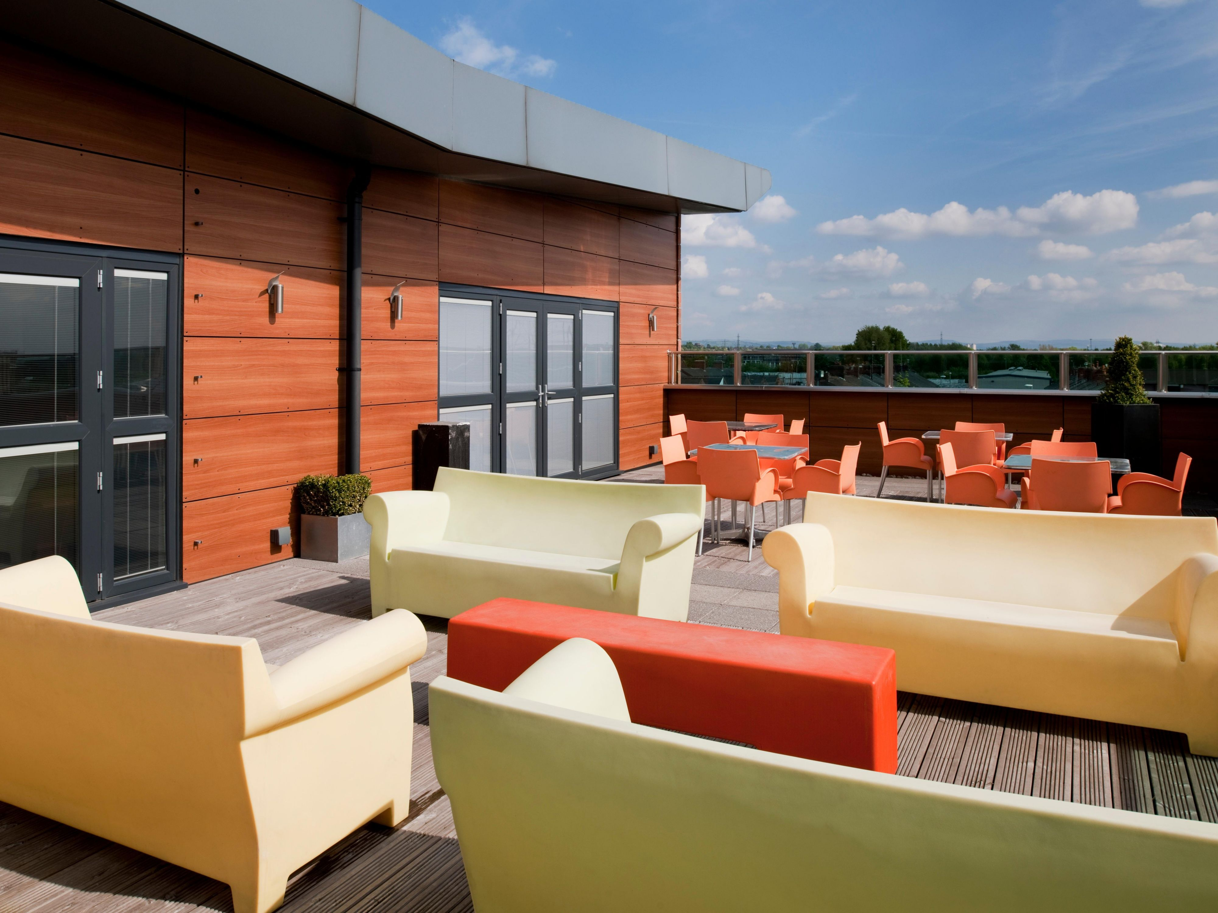 Enjoy an ice cold drink on one of our roof terraces on the Summer