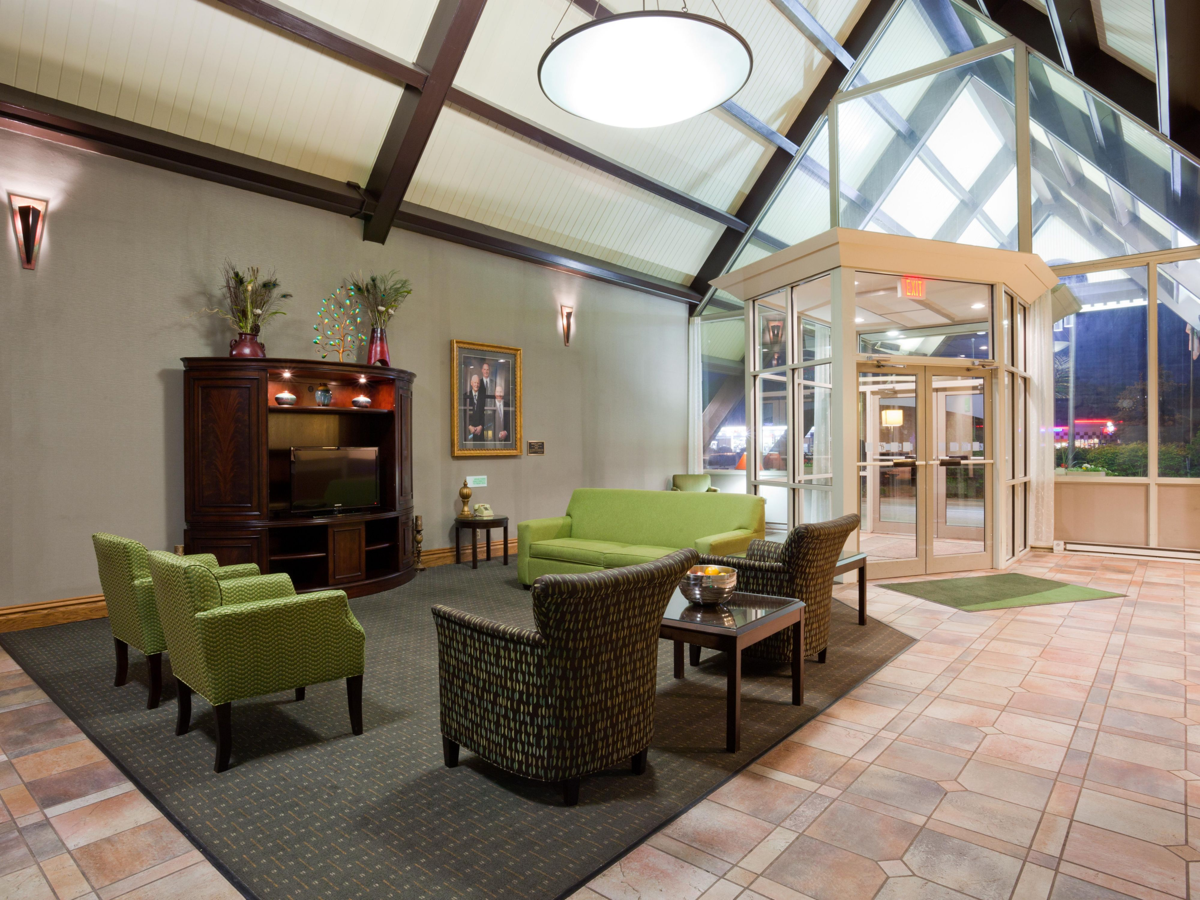 relax in our spacious lobby & warm up by the fireplace when chilly