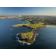 An aerial view over Bare Island at La Perouse