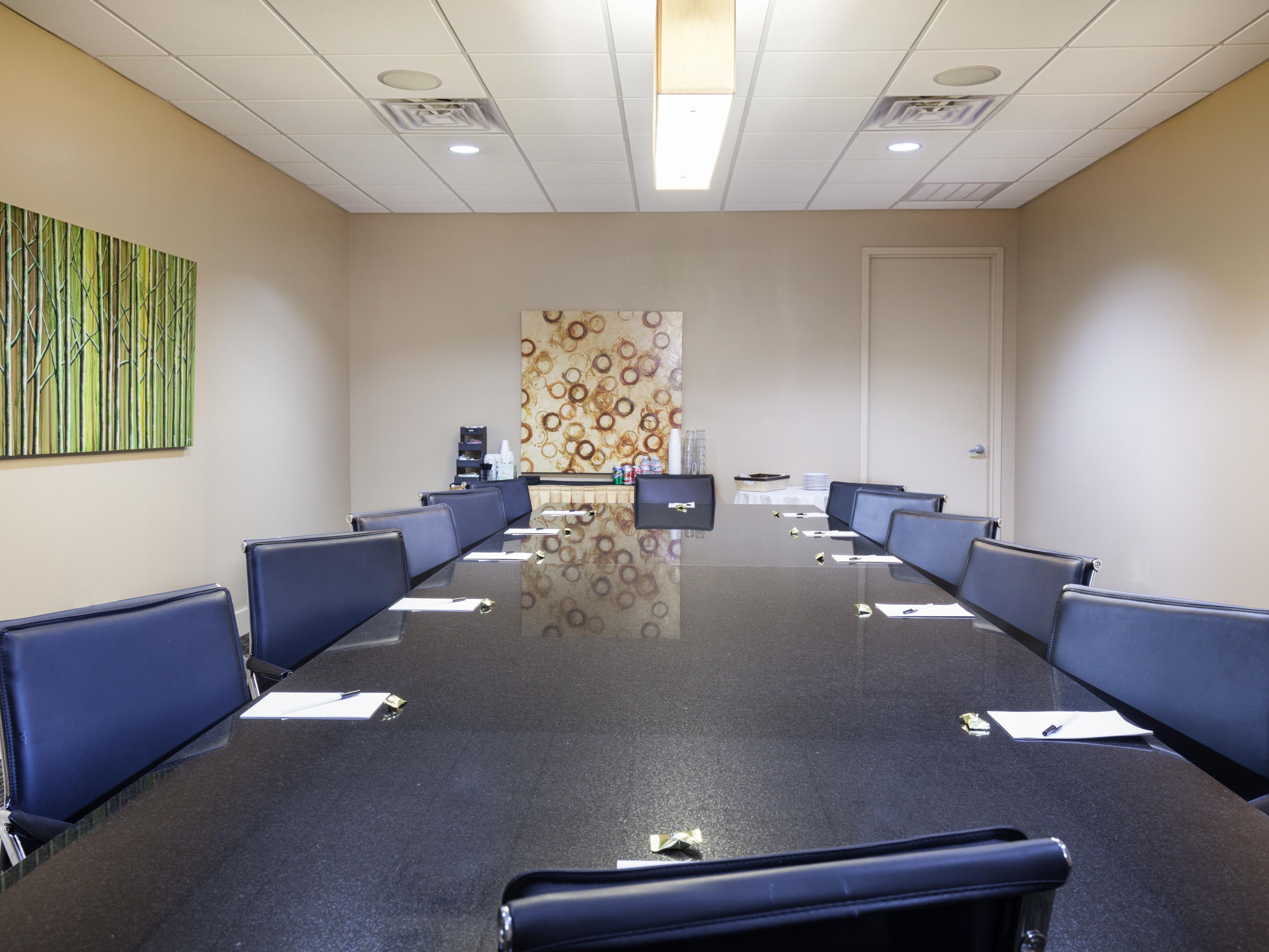 Book our boardroom for meetings and presentations.