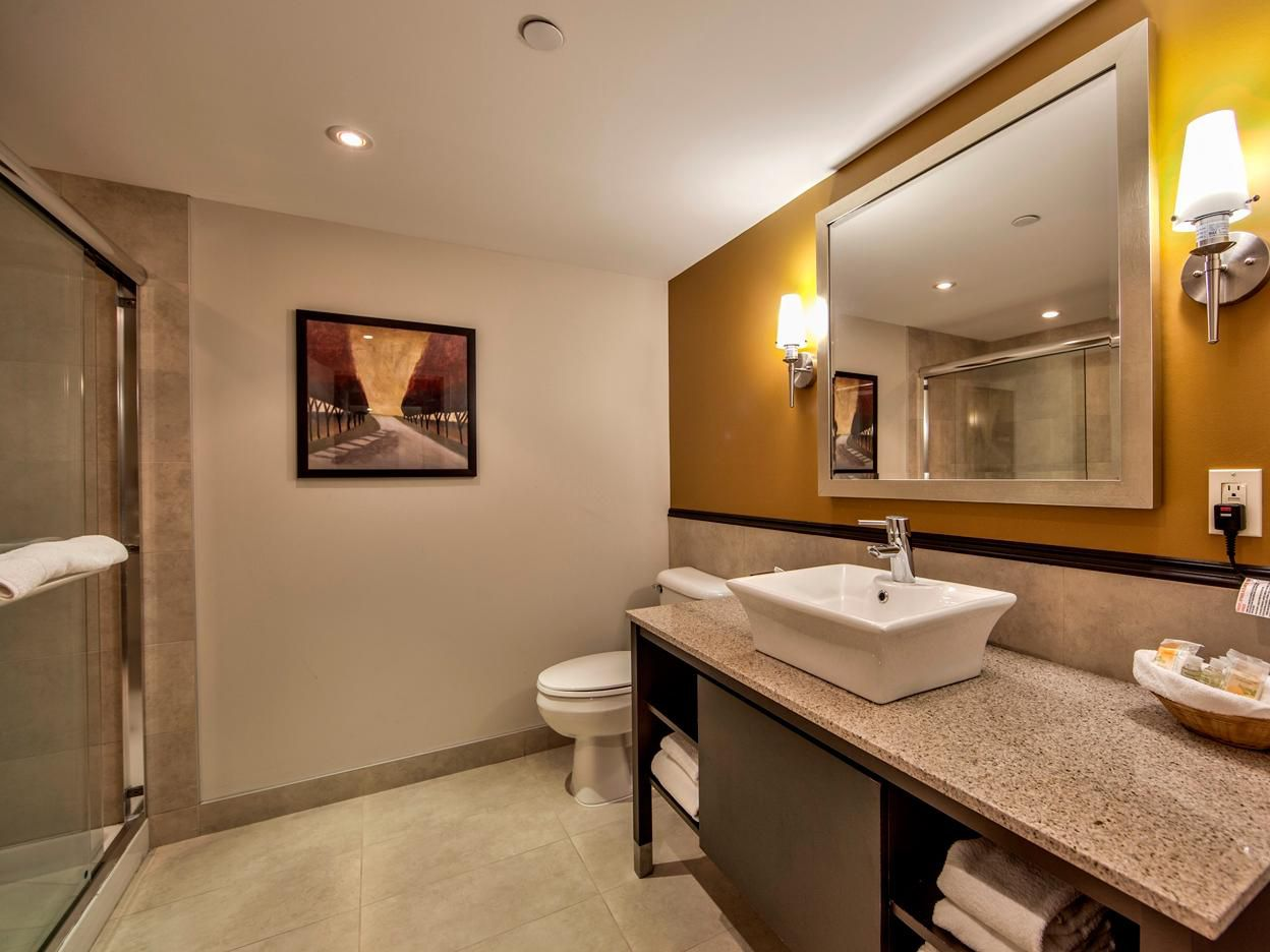 Bathroom with all your comforts of home in our extended stay suite