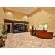 Spacious hotel lobby.