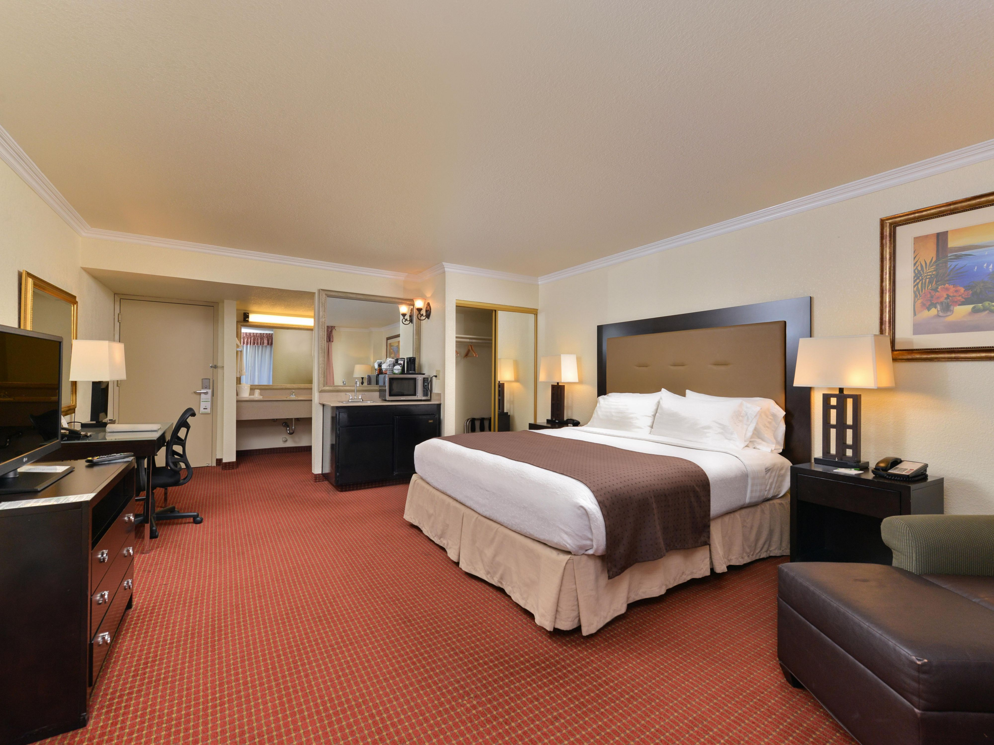 Relax in our spacious King room with a jacuzzi tub