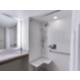 Spacious roll-in shower in an accessible two bedroom suite