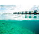 An artistic view of the overwater villas.