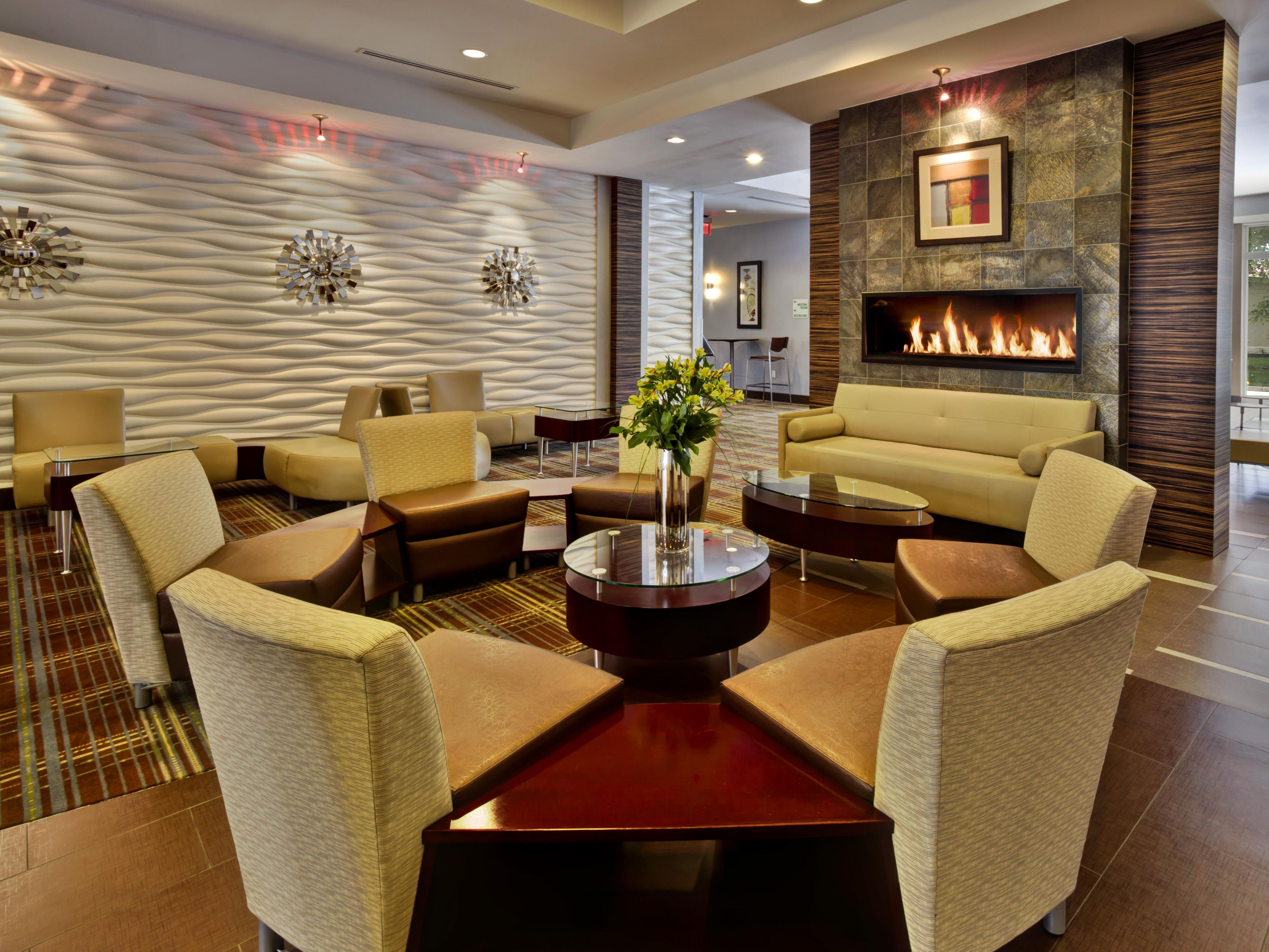 Relax by the fireplace in our upscale Lobby