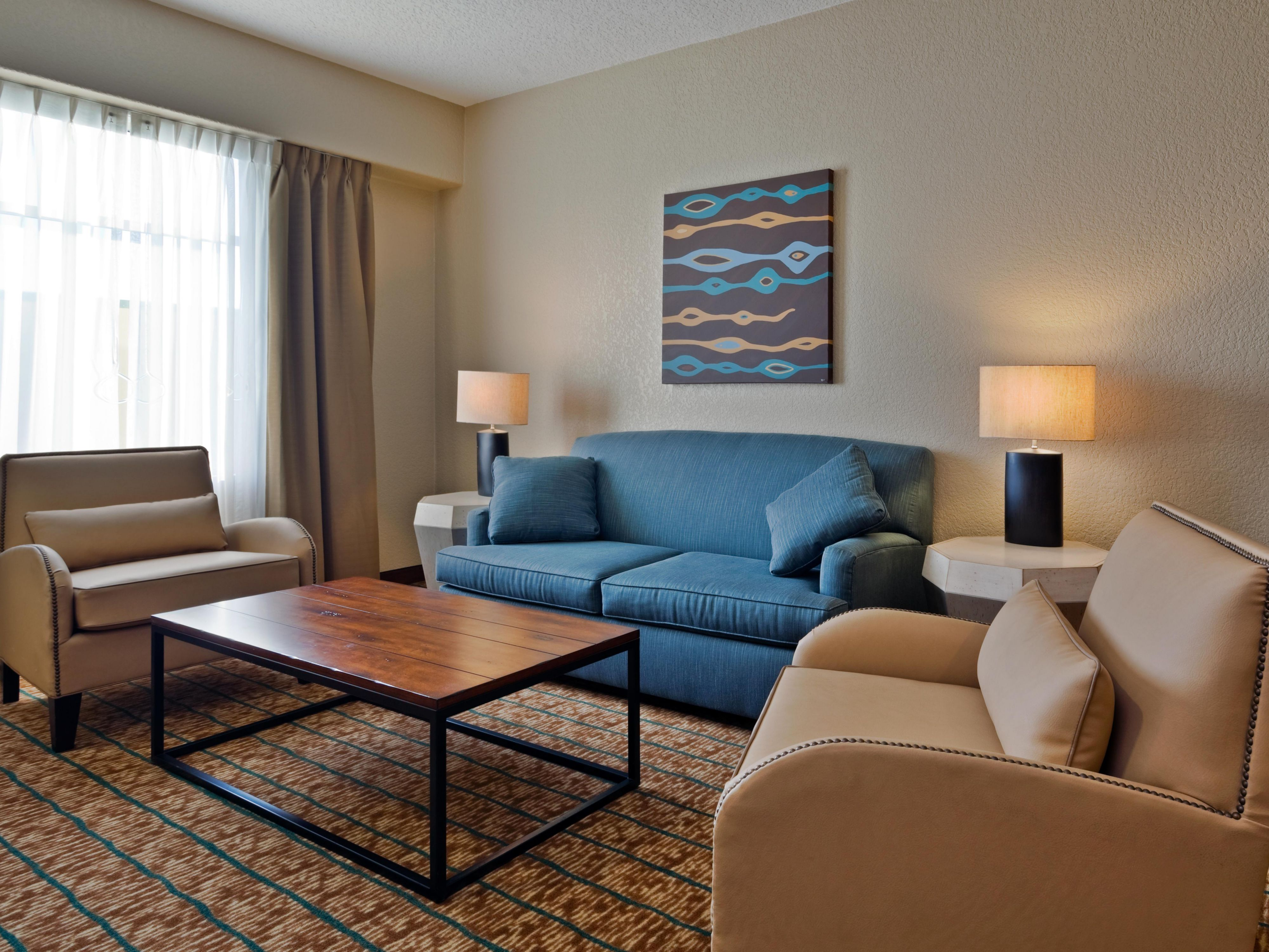 San Antonio suites offer parlors with extra space and sleeper sofa
