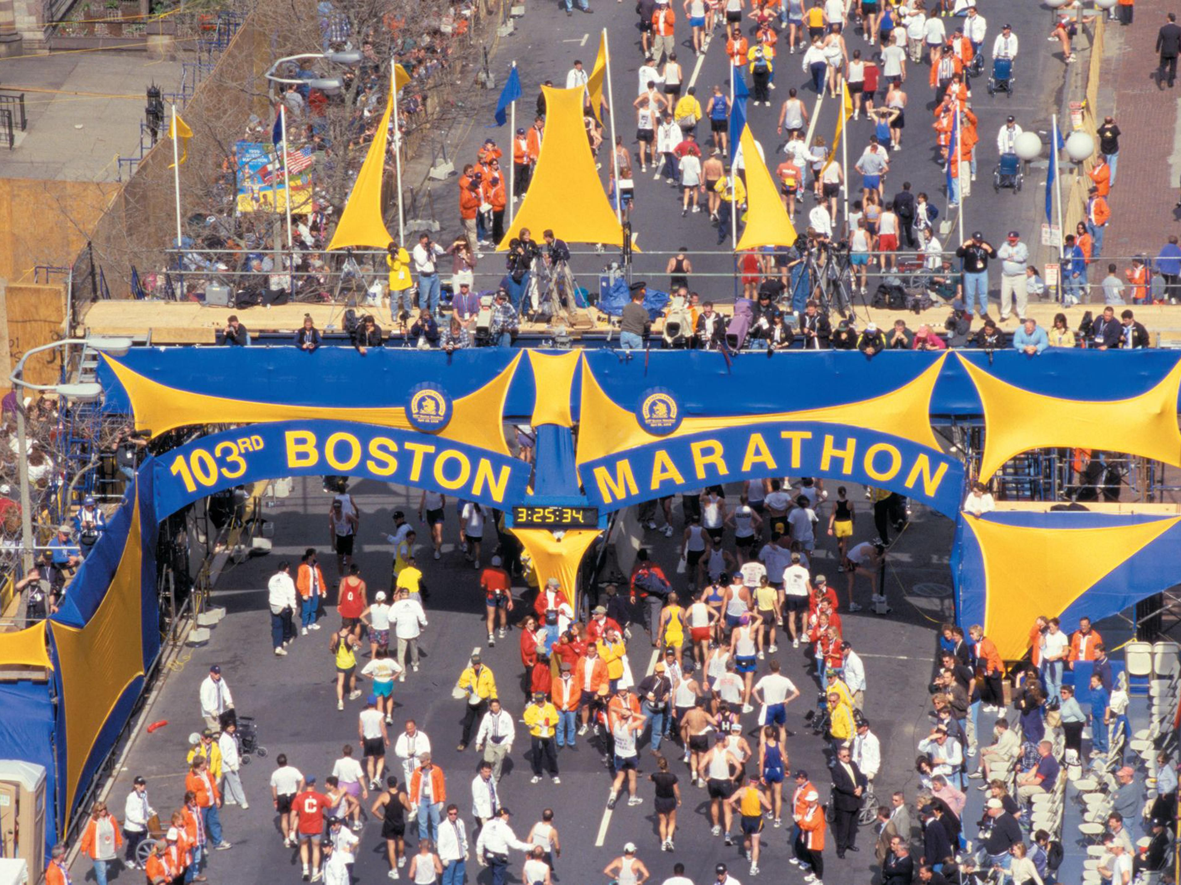 The annual Boston Marathon finish line is just under 5 miles away.