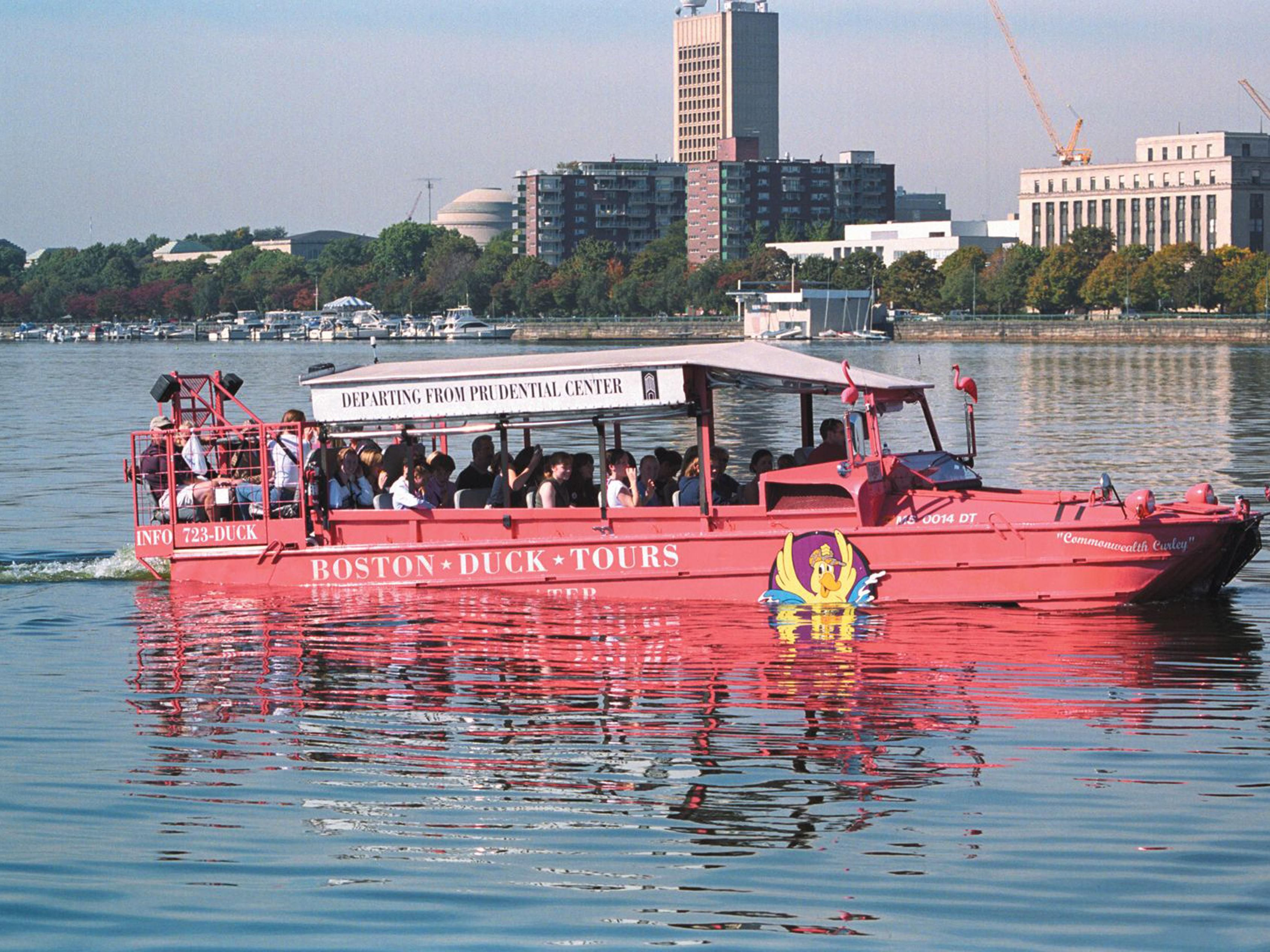 Enjoy a fun tour of Boston on a Duck Tour on the Charles River.