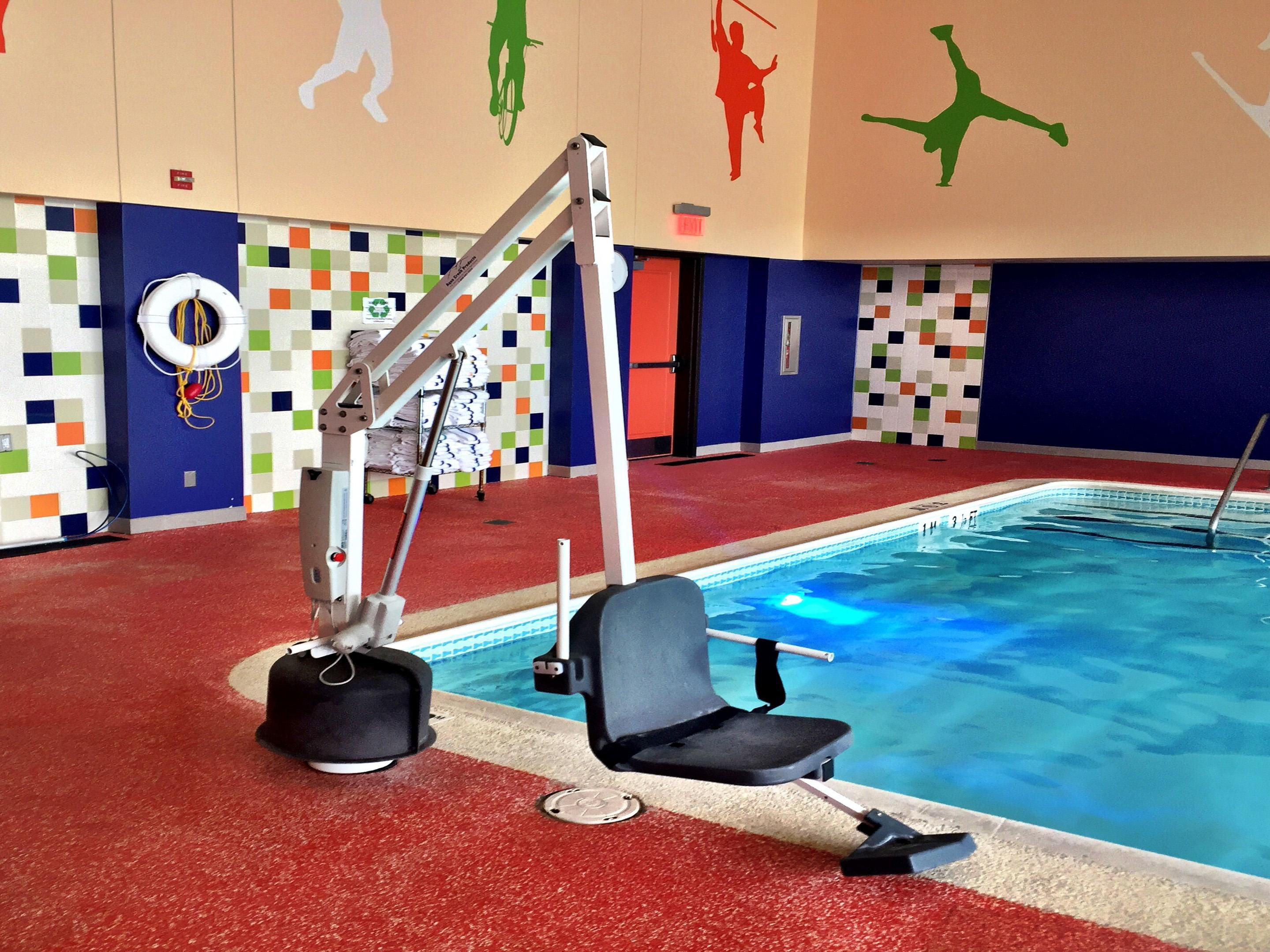 Easily enter the pool via our Accessible Pool Lift