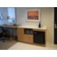 In room beverage/food prep station w/microwave and refrigerator