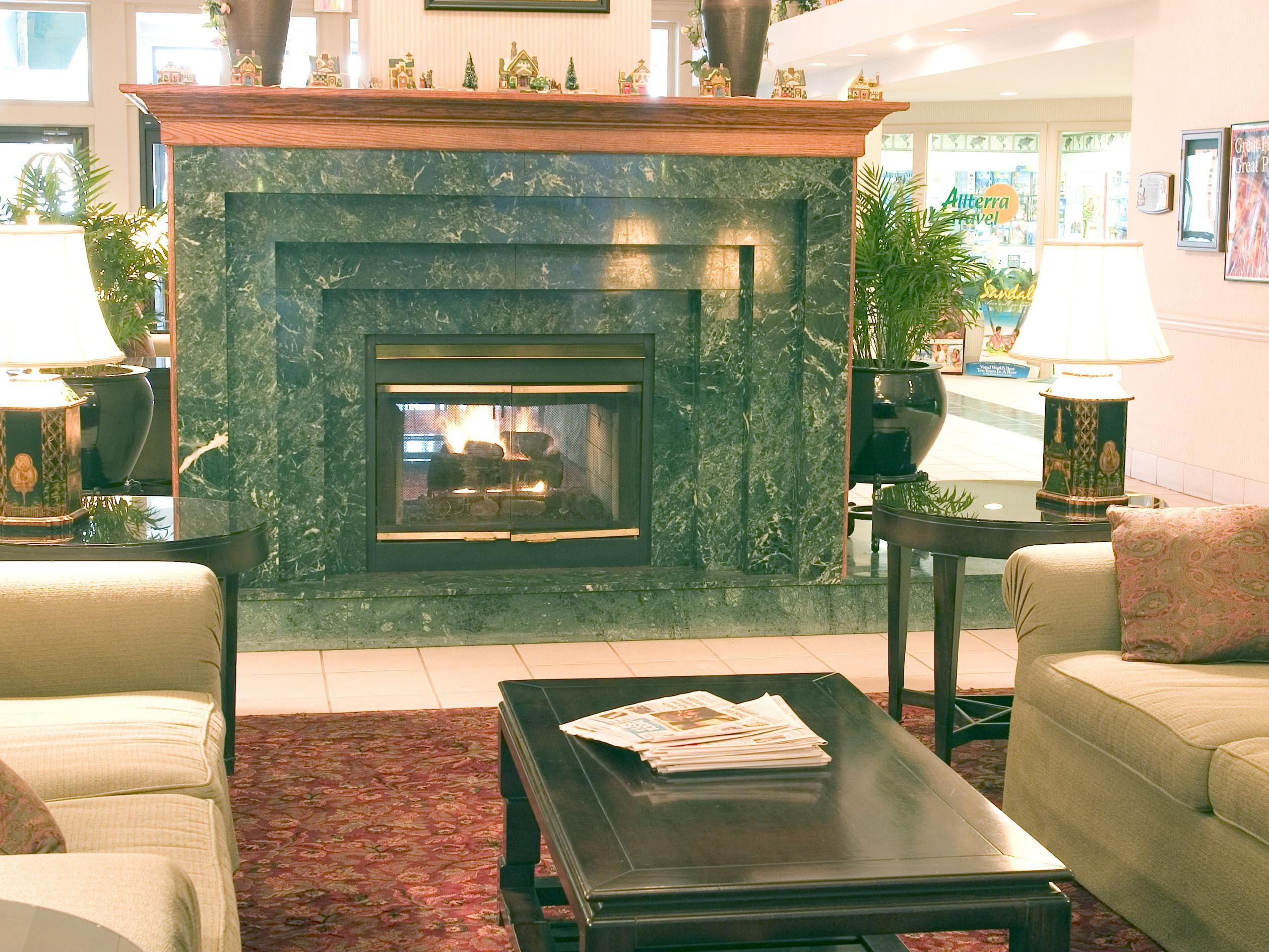 Sit and relax in front of our cozy fireplace