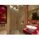 The elegant design flows into the bathroom