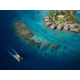 Aerial View of the Hotel islet and our Overwater Motu bungalows
