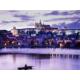 Vltava river and Prague Castle by night