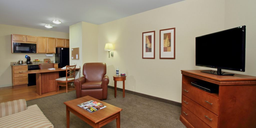 Candlewood Cupboard Hotel Lobby Front Desk Living Area For King Suite