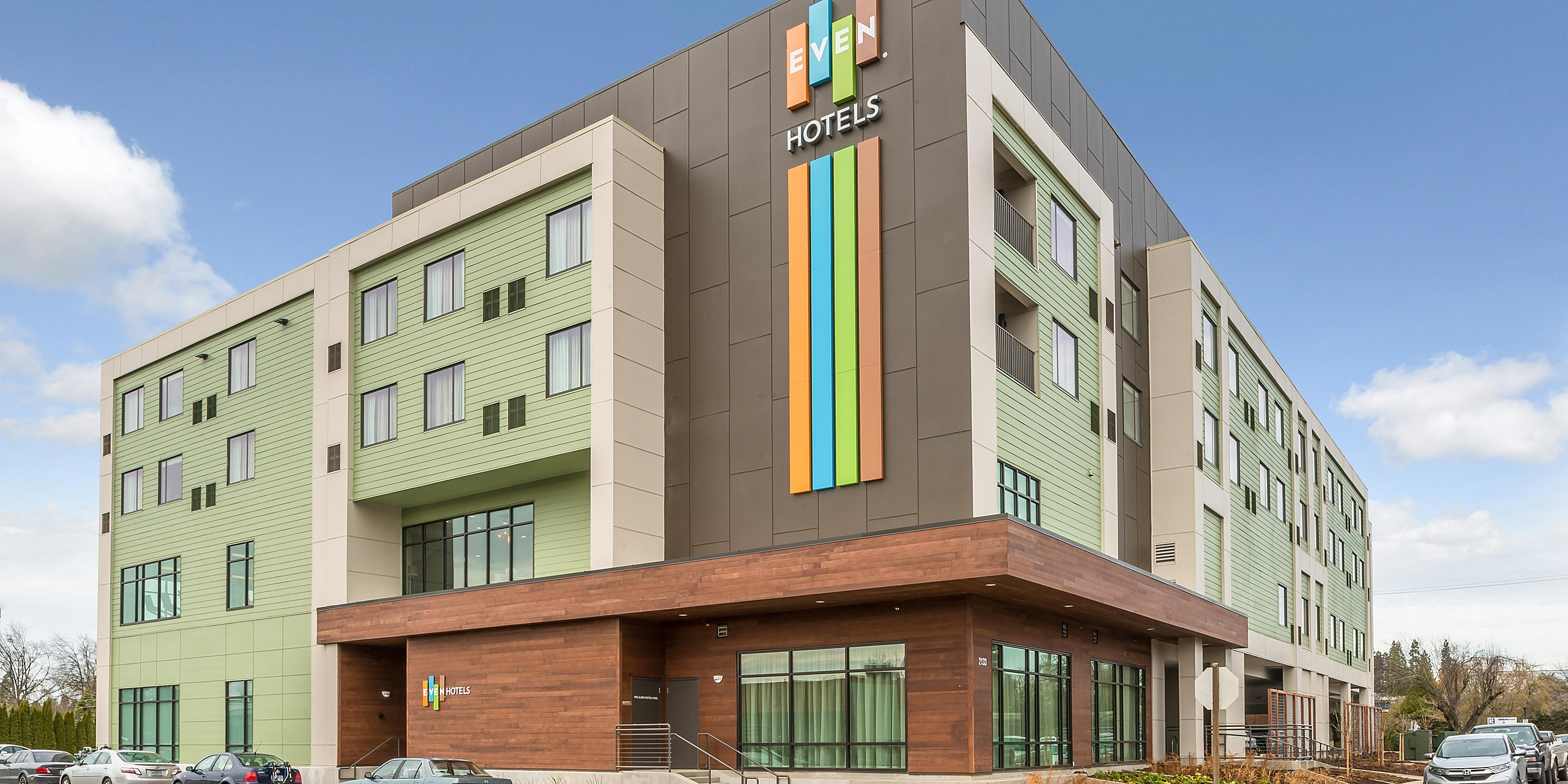 Hotel Exterior via Centennial Plaza - EVEN Hotels Eugene, OR